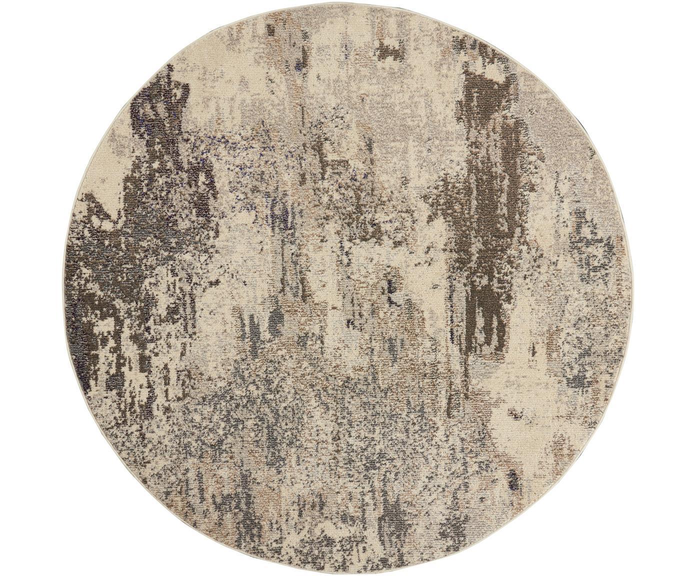 Rond design vloerkleed Celestial in beige, Bovenzijde: polypropyleen, Onderzijde: latex, Beigetinten, Ø 160 cm