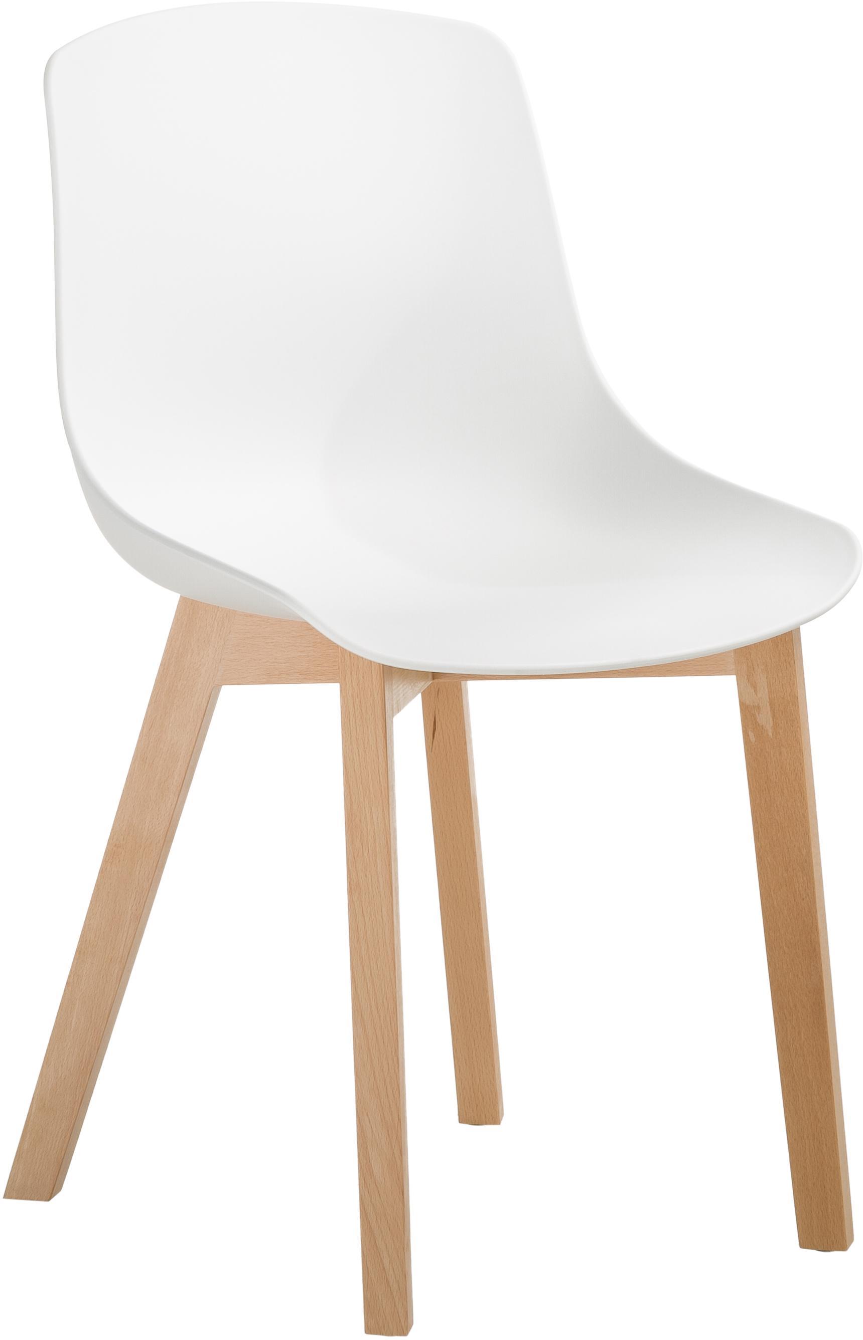 Kunststoffstühle Dave mit Holzbeinen, 2 Stück, Sitzschale: Kunststoff, Beine: Buchenholz, Weiss, B 46 x T 52 cm