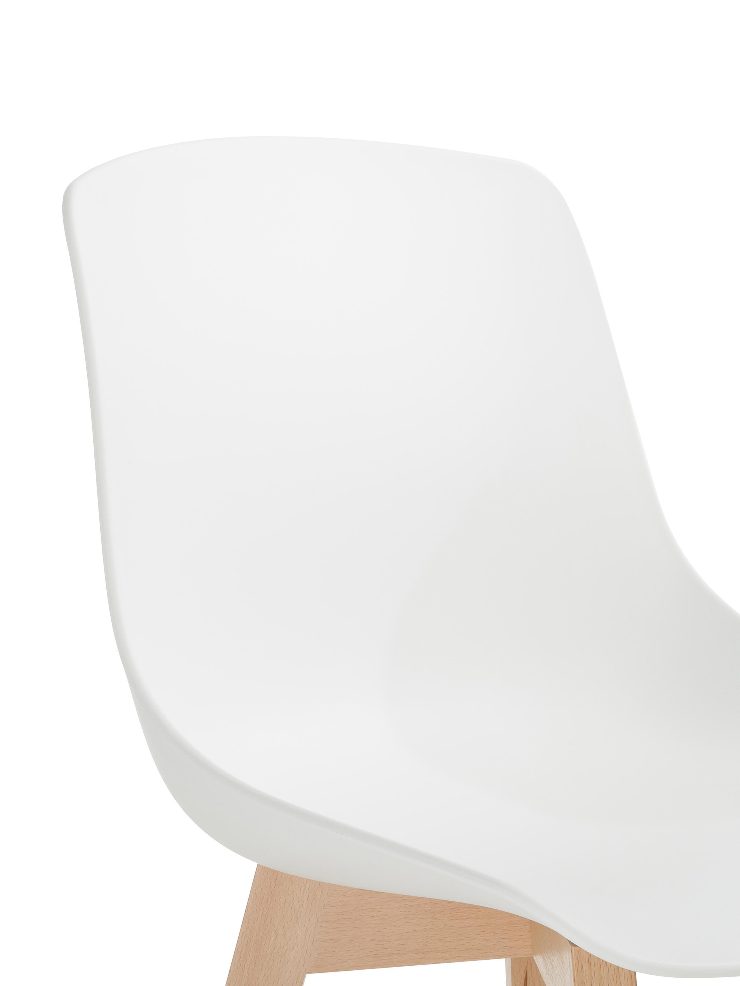 Kunststoffstühle Dave mit Holzbeinen, 2 Stück, Sitzschale: Kunststoff, Beine: Buchenholz, Weiß, B 46 x T 52 cm