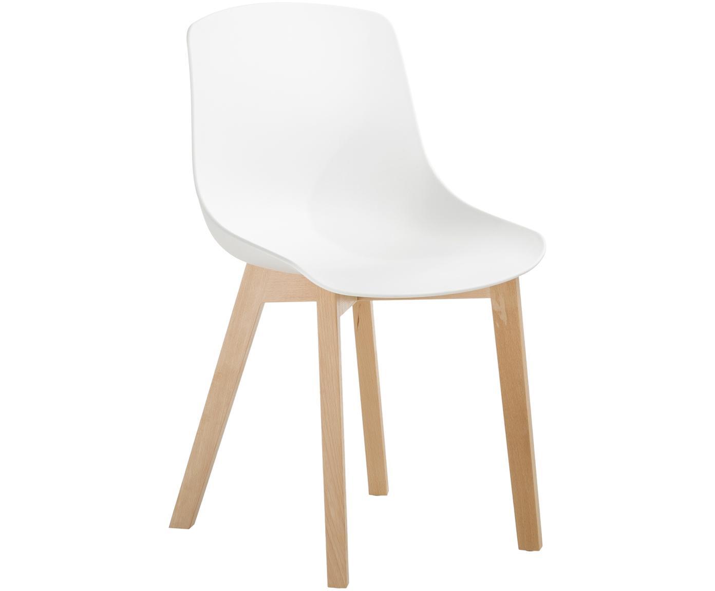 Sedia in plastica con gambe in legno Dave 2 pz, Seduta: materiale sintetico, Gambe: legno di faggio Il legno , Bianco, Larg. 46 x Alt. 52 cm