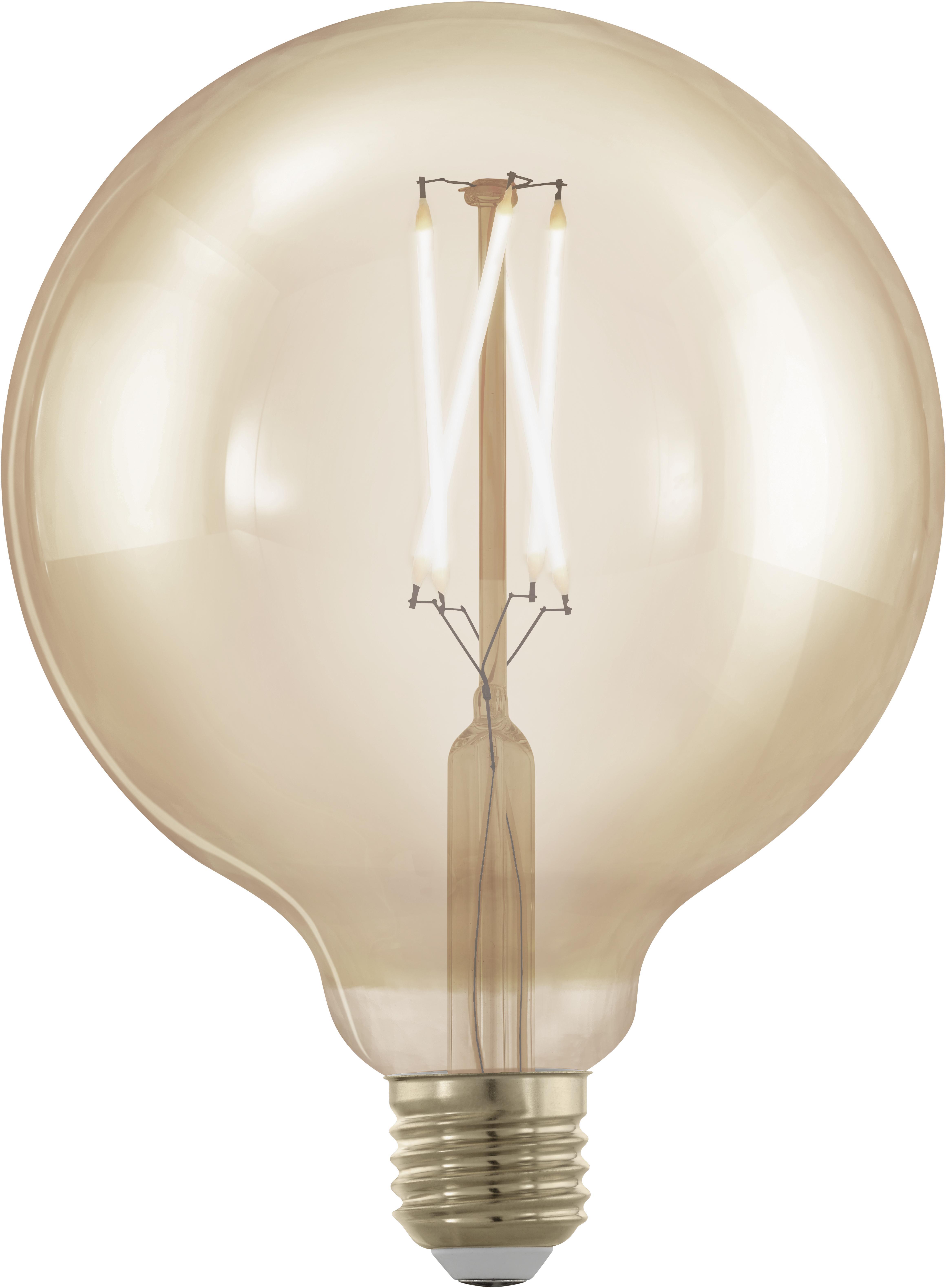 Bombillas XL LED Cross (E27/4W),5uds., Ampolla: vidrio, Casquillo: aluminio, Transparente, ámbar, Ø 13 x Al 17 cm