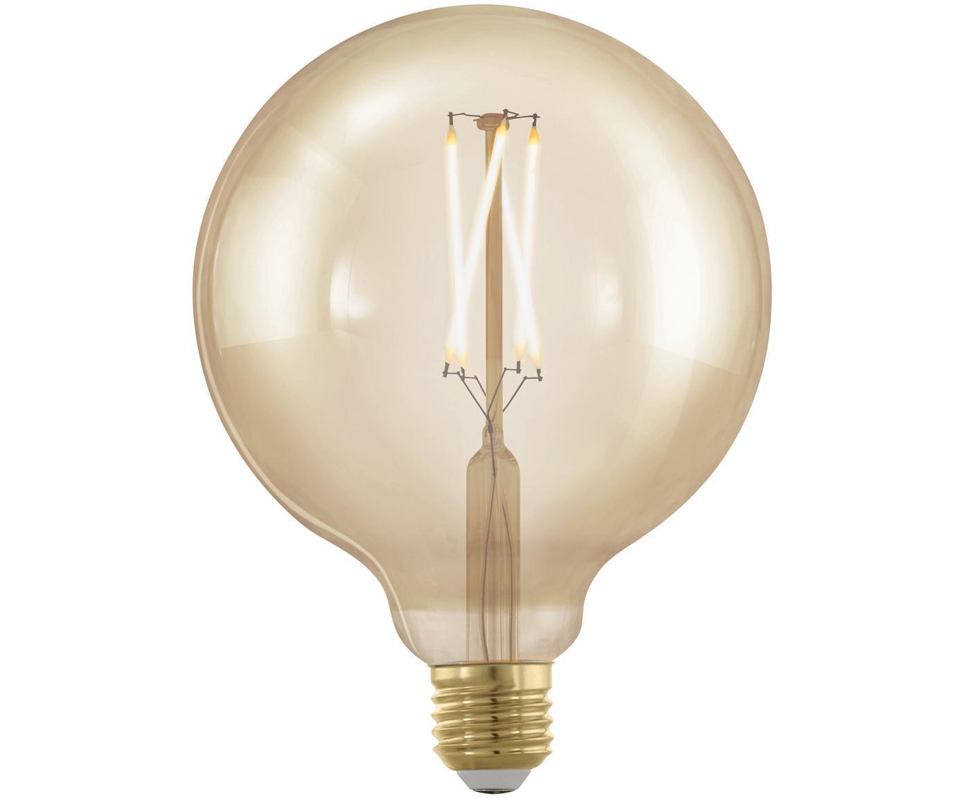 XL LED Leuchtmittel Cross für warmes Licht (E27/4W), 5 Stück, Leuchtmittelschirm: Glas, Leuchtmittelfassung: Aluminium, Transparent, Bernsteinfarben, Ø 13 x H 17 cm