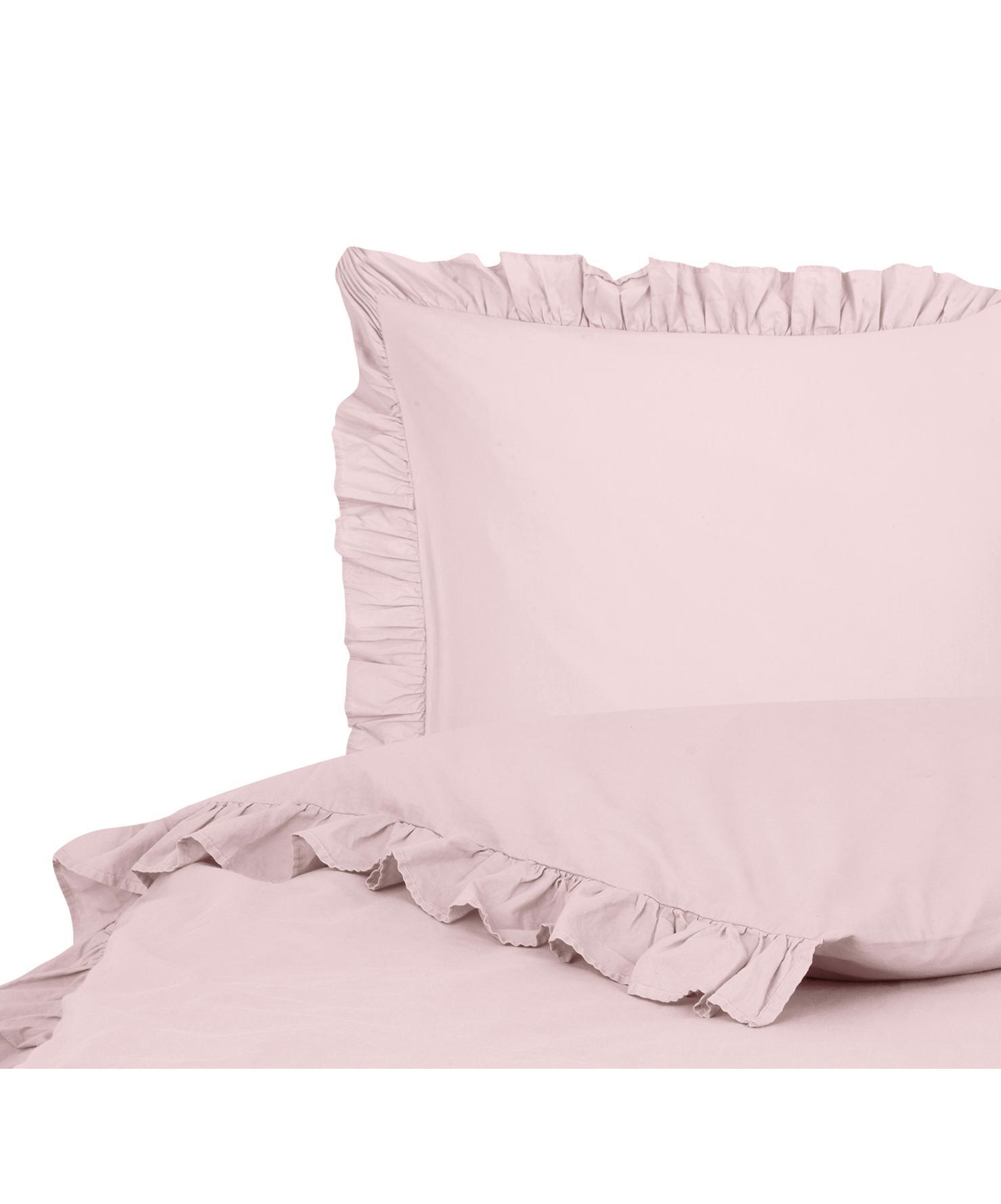 Parure copripiumino in cotone lavato Florence, Tessuto: percalle, Rosa, 155 x 200 cm