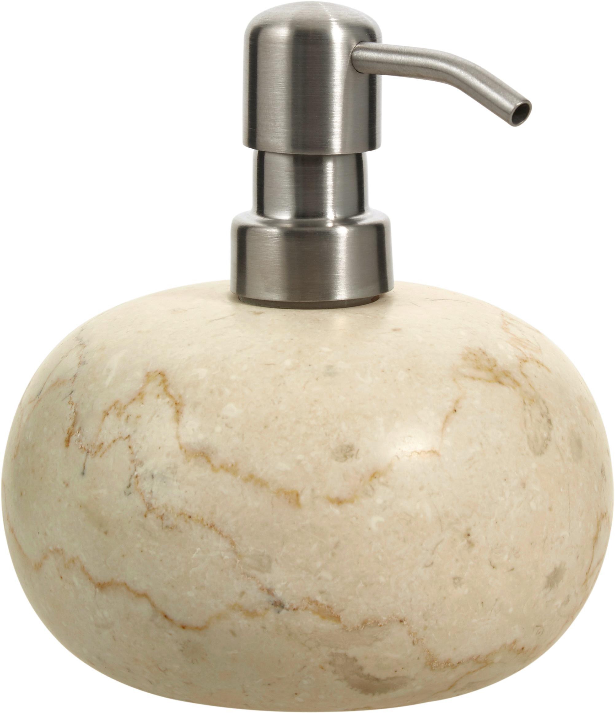 Dosificador de jabón de mármol Luxor, Recipiente: mármol, Dosificador: acero inoxidable, Beige, acero, Ø 12 x Al 13 cm