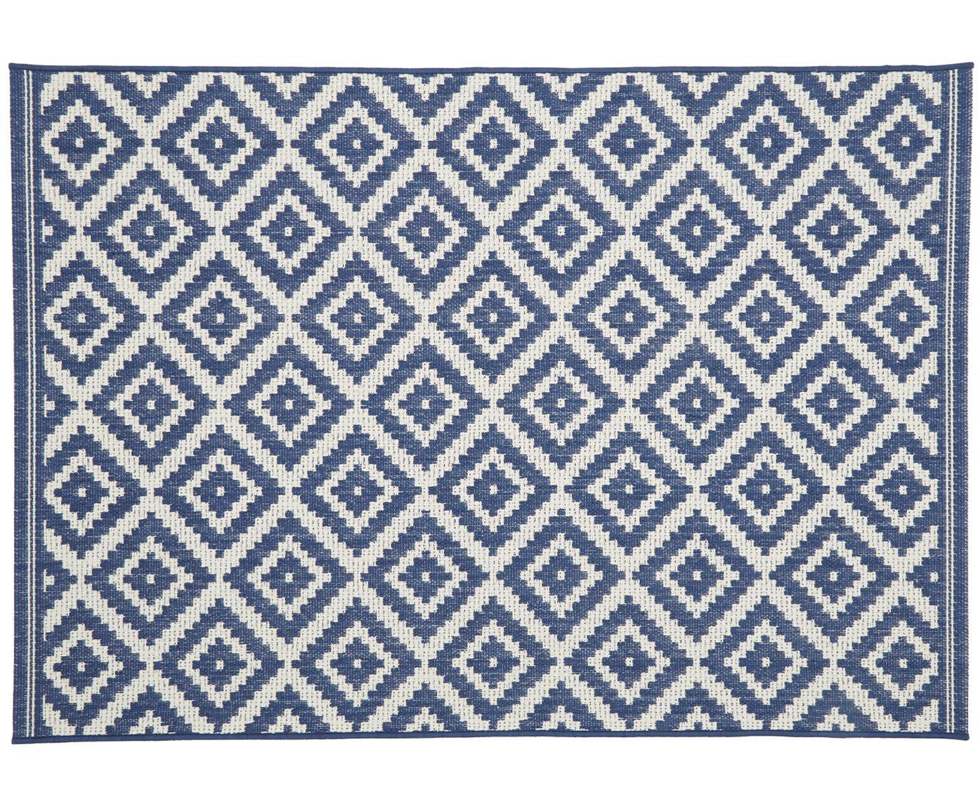 Tappeto da interno-esterno Miami, Retro: poliestere, Bianco crema, blu, Larg.160 x Lung. 230 cm  (taglia M)