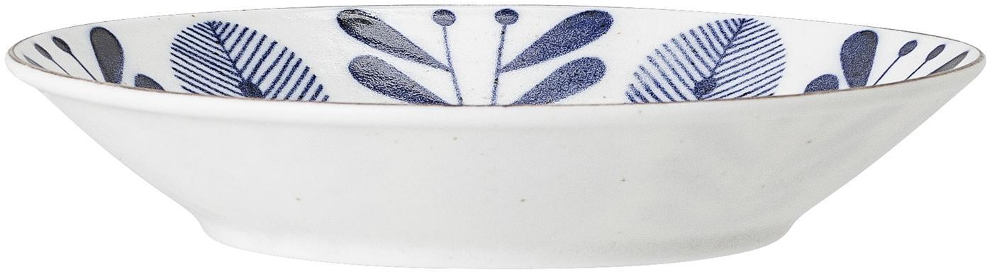 Handgemachte Servierschale Camellia, Porzellan, Weiß, Blau, Goldfarben, Ø 18 x H 4 cm