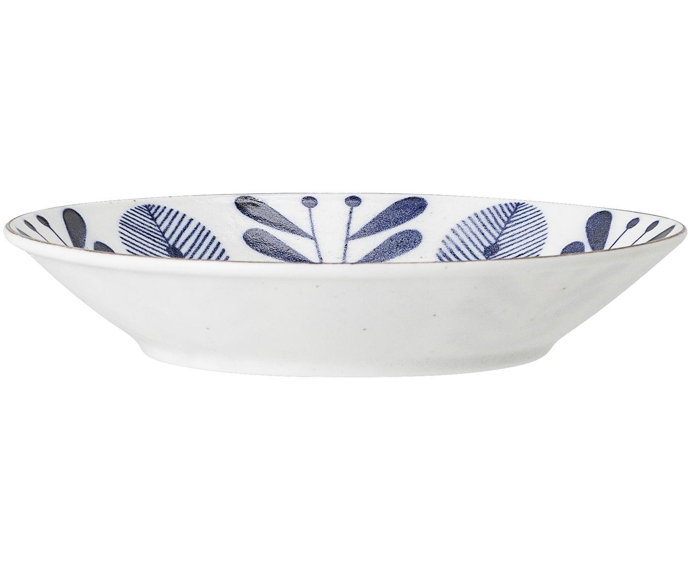 Ręcznie wykonana miska do serwowania Camellia, Porcelana, Biały, niebieski, odcienie złotego, Ø 18 x W 4 cm