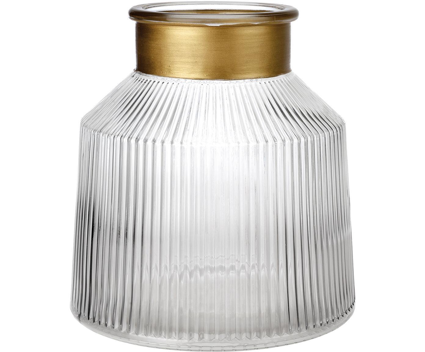 Glas-Vase Junyell, Rand: Glas, lackiert, Vase: Glas, Goldfarben, Transparent, Ø 19 x H 20 cm