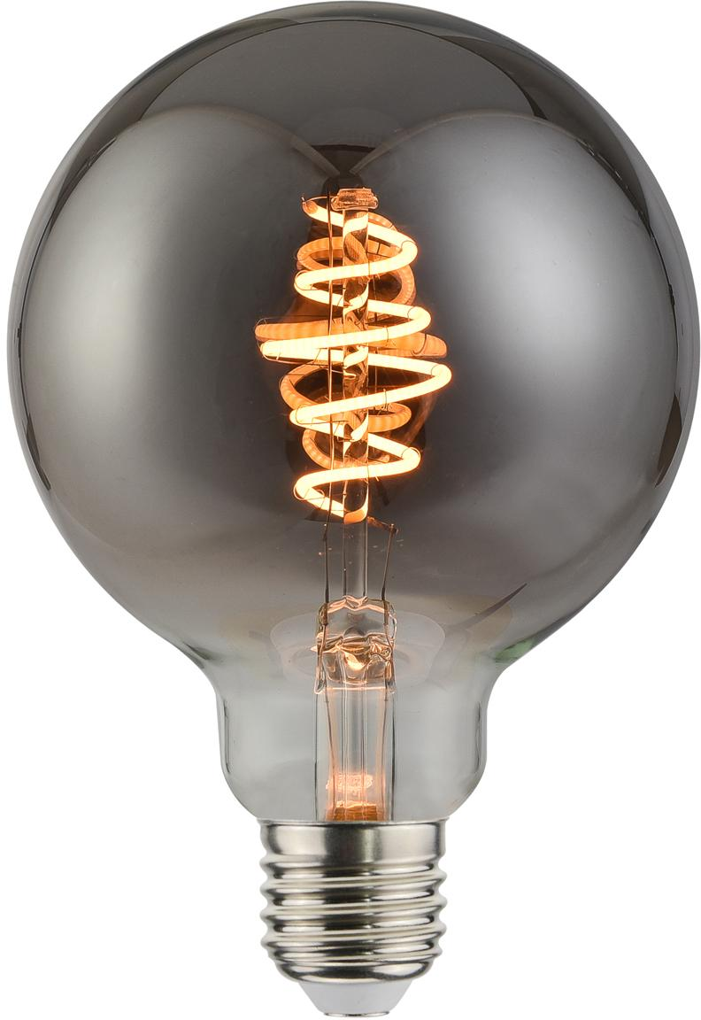 Dimbaar LED peertje Spiral Deco Globe (E27 / 5W), Lampenkap: glas, Fitting: metaal, Grijs, transparant, Ø 10 x H 14 cm