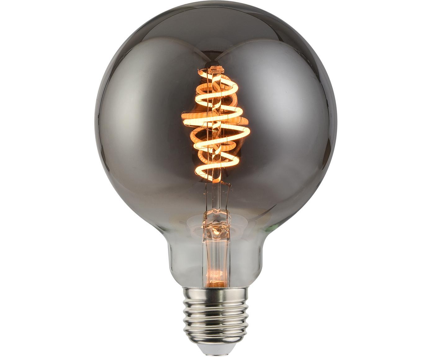 Dimmbares LED Leuchtmittel Spiral Deco Globe (E27/5W), Leuchtmittelschirm: Glas, Leuchtmittelfassung: Metall, Grau, transparent, Ø 10 x H 14 cm