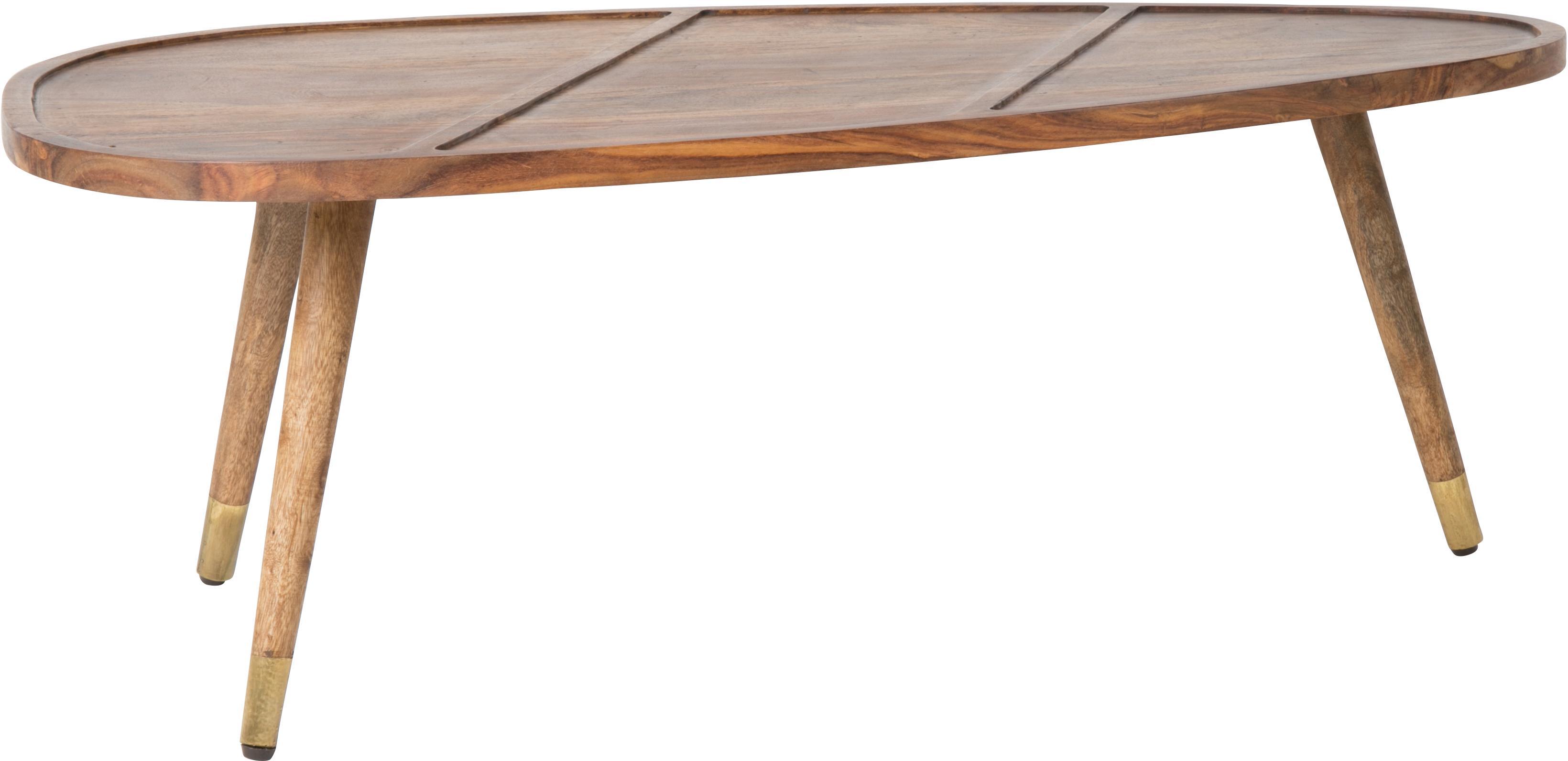 Set de mesas de centro de madera maciza Sham, 2uds., Madera de sheesham, dorado, An 110 x Al 40 cm