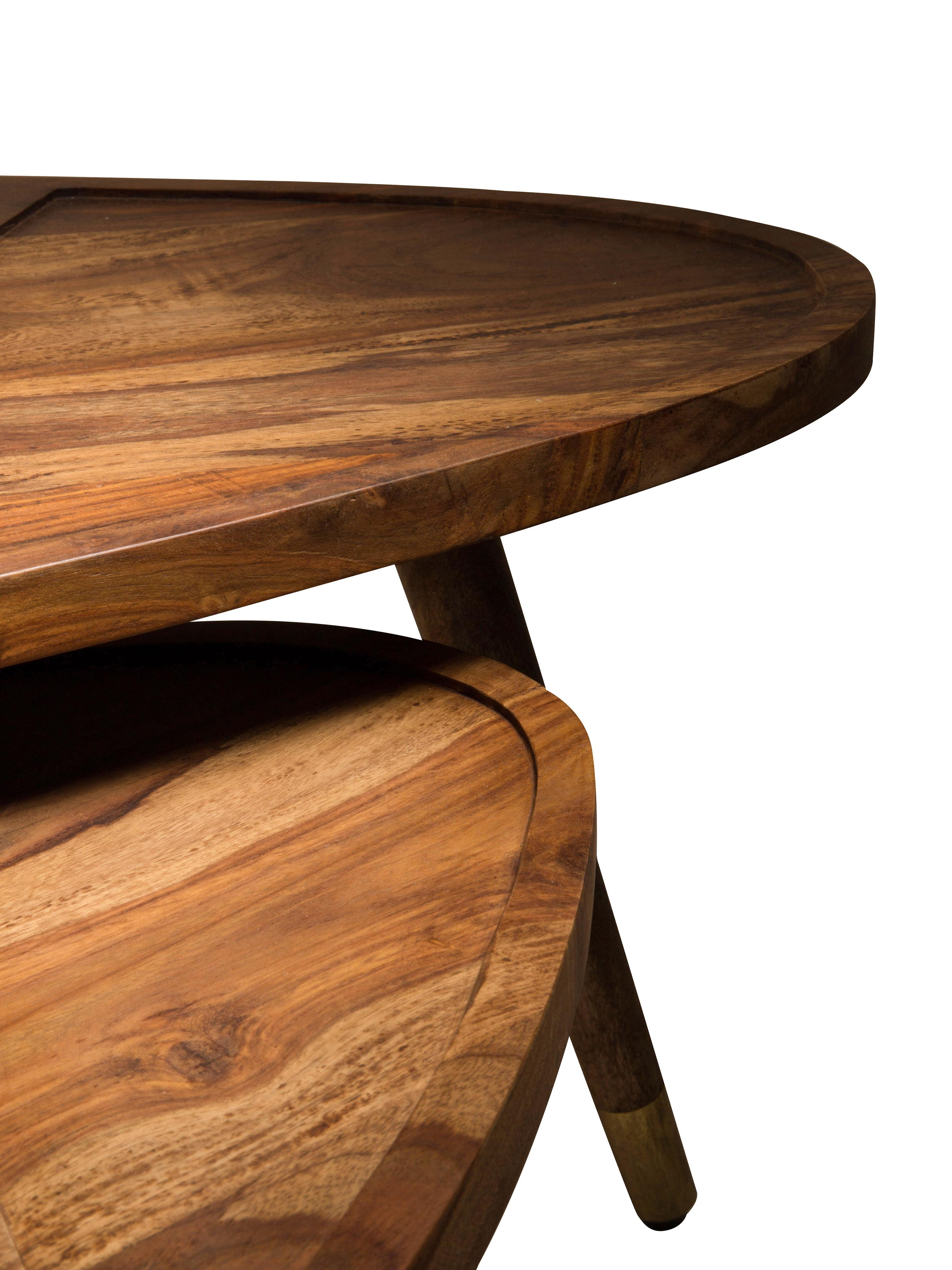 Set 2 tavolini da salotto in legno di sheesham Sham, Piano d'appoggio e gambe sopra: legno di sheesham Gambe sotto: dorato, Larg. 110 x Alt. 40 cm