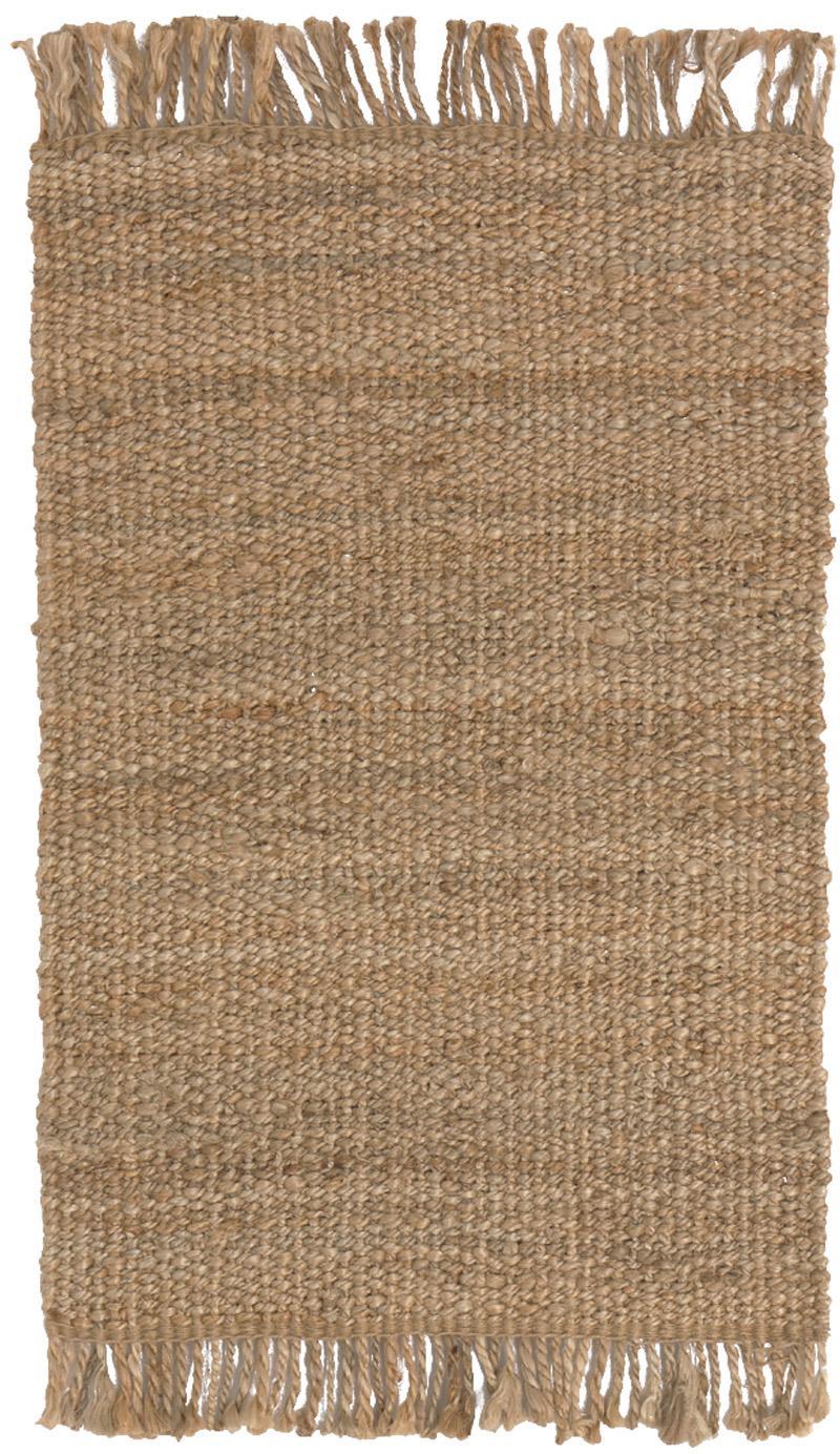 Handgefertigter Jute-Teppich Cadiz mit Fransen, Jute, Jute, B 150 x L 200 cm (Grösse S)