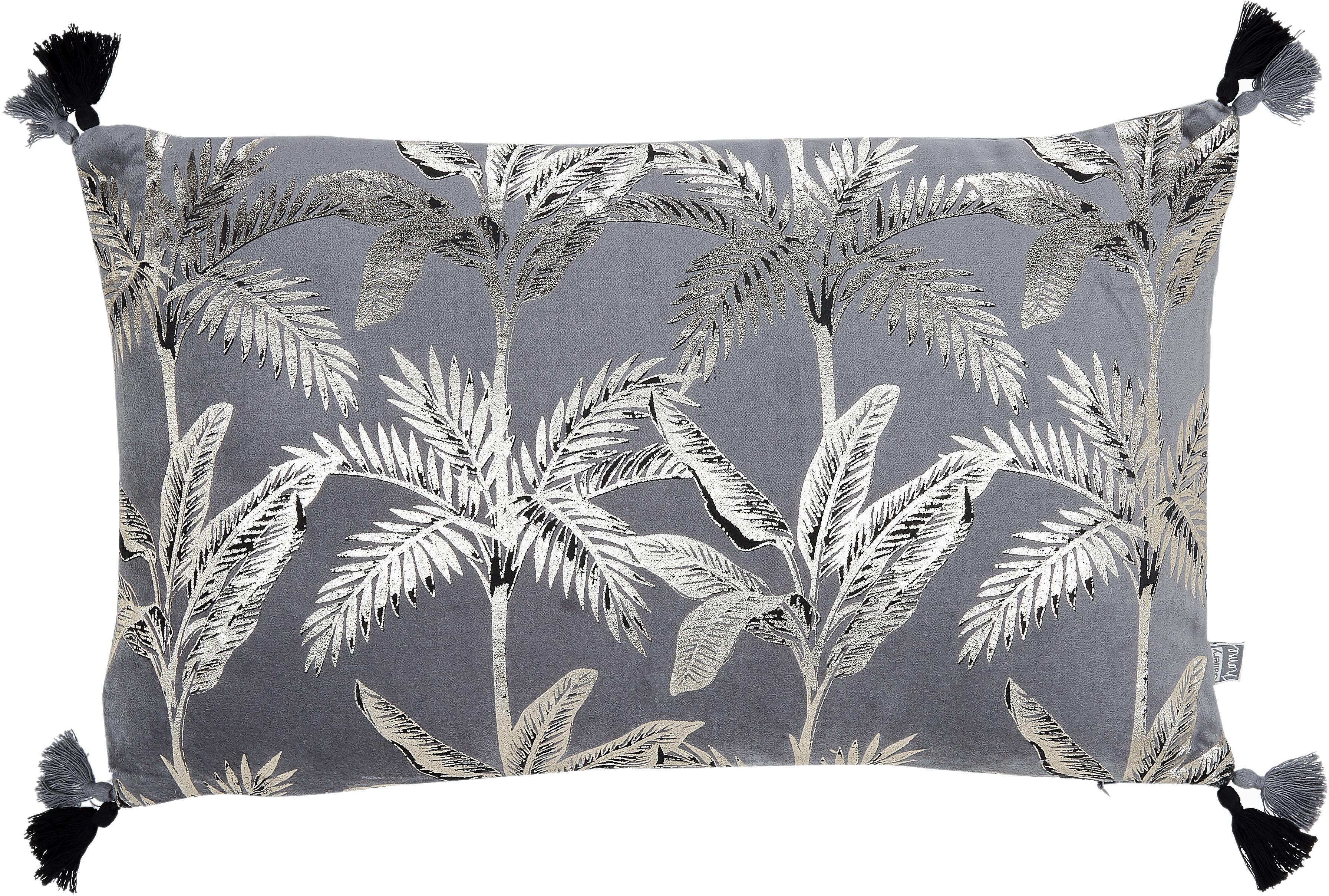 Cojín de terciopelo Palm, con relleno, Funda: 100%terciopelo de algodó, Gris, An 30 x L 50 cm