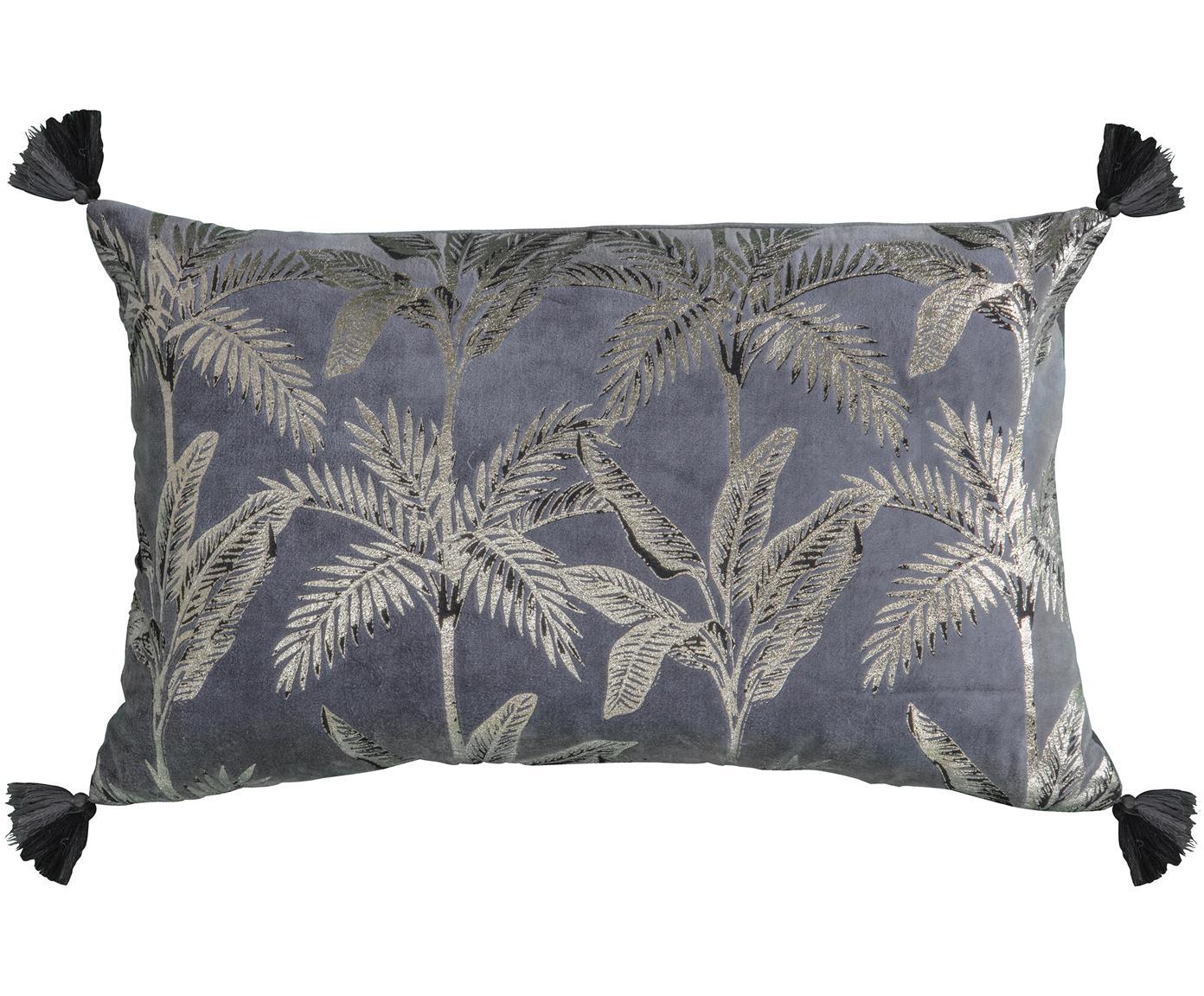 Kussen Palm, met vulling, Katoen, Grijs, 30 x 50 cm