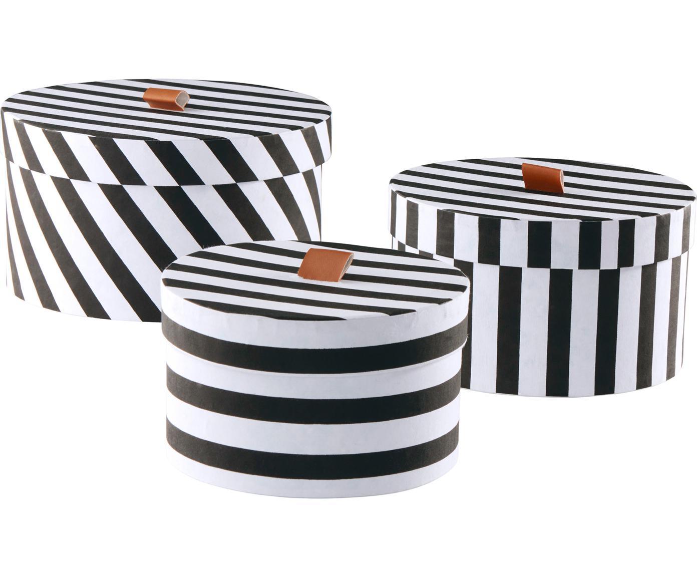Opbergdozenset Dizzy, 3-delig, Karton, Zwart, wit, bruin, Verschillende formaten