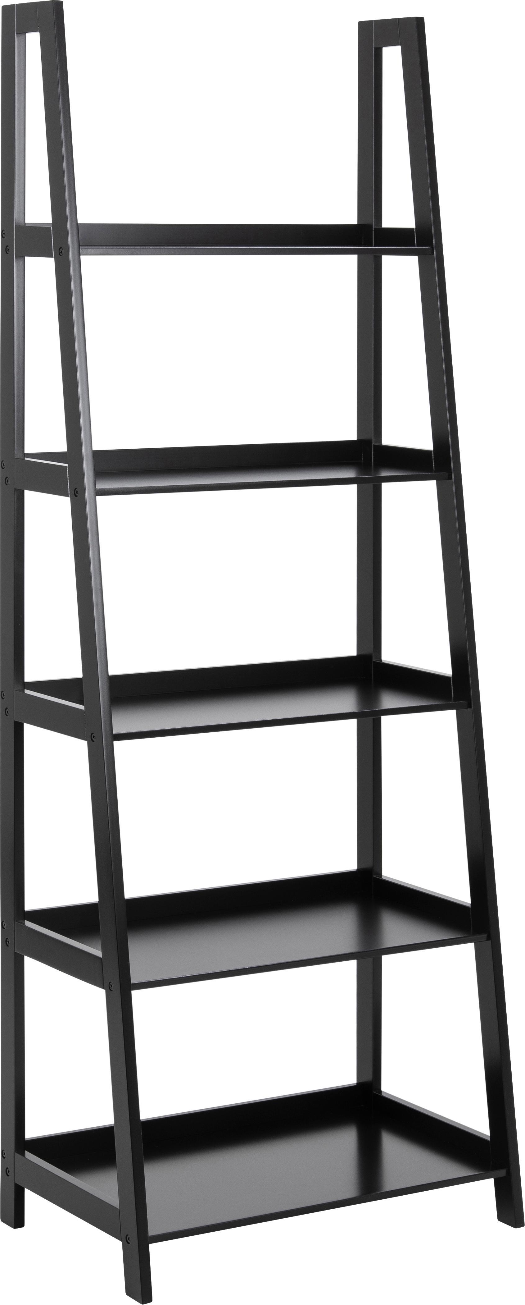 Estantería escalera Wally, Tablero de fibras de densidad media(MDF) pintado, Negro, An 63 x Al 180 cm