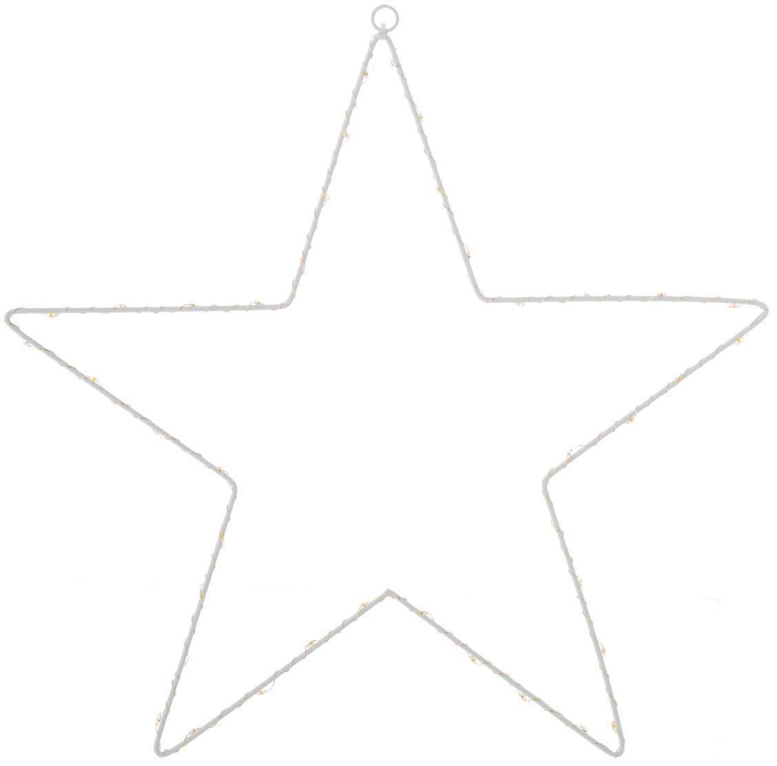 Estrella luminosa LED Silhouet, Metal pintado, Blanco, Ancho 40 x Alto 40 cm
