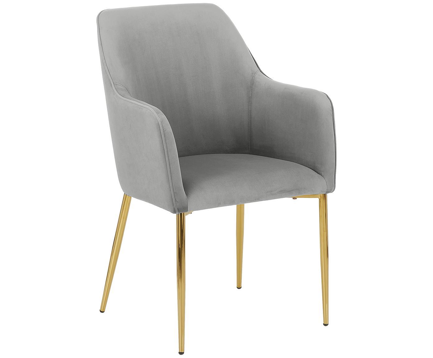 Krzesło z podłokietnikami  z aksamitu Ava, Tapicerka: aksamit (poliester) 5000, Nogi: metal galwanizowany, Szary, S 57 x G 62 cm