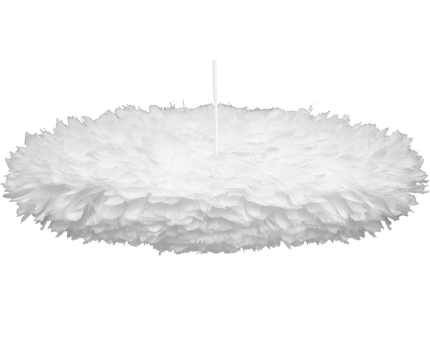 Lámpara de techo de plumas Eos Esther, Pantalla: plumas de ganso, tela, Anclaje: plástico, Cable: cubierto en tela, Blanco, An 60x Al 16 cm