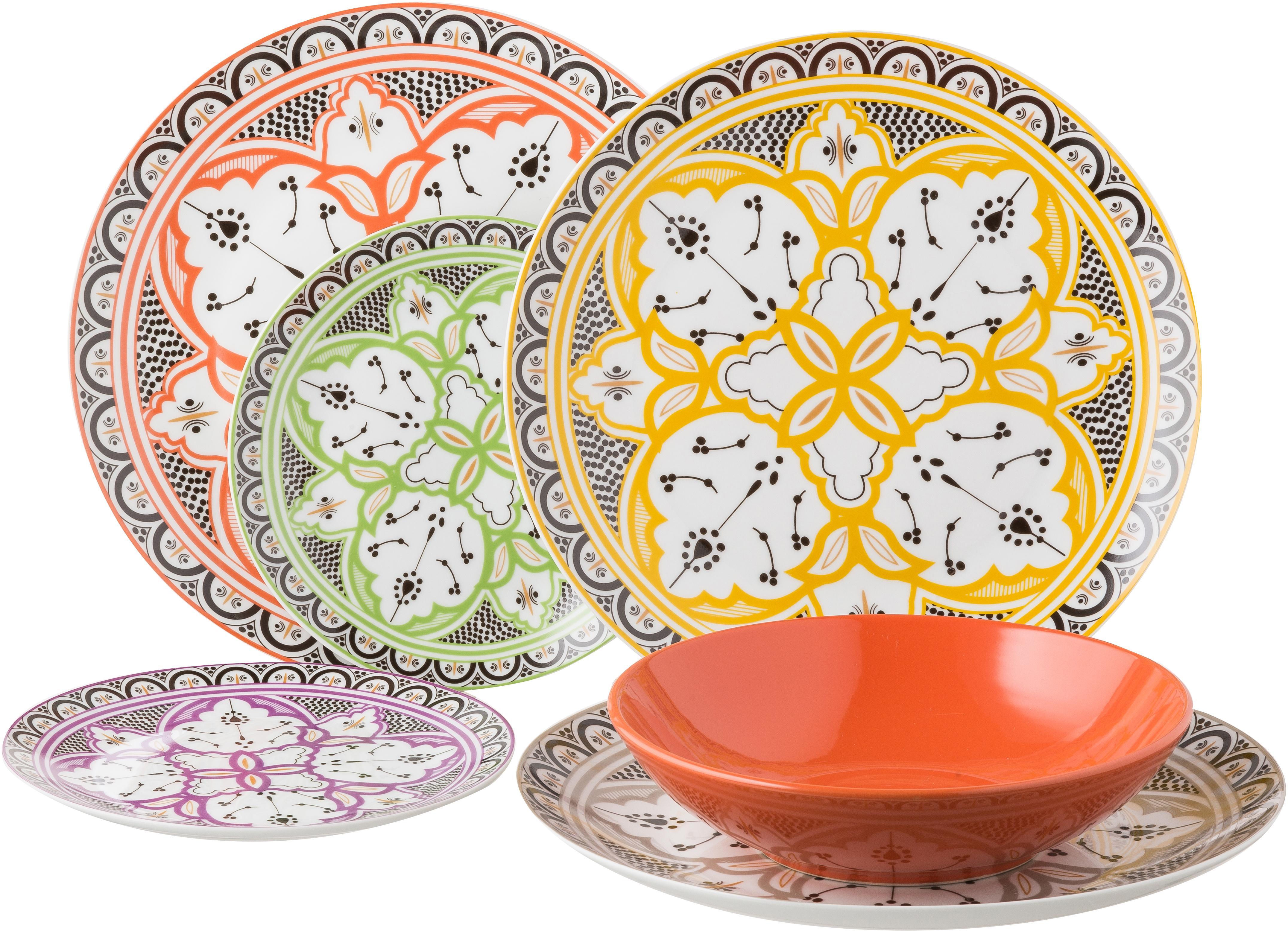 Set di piatti Marocco 18 pz, Multicolore, Diverse dimensioni