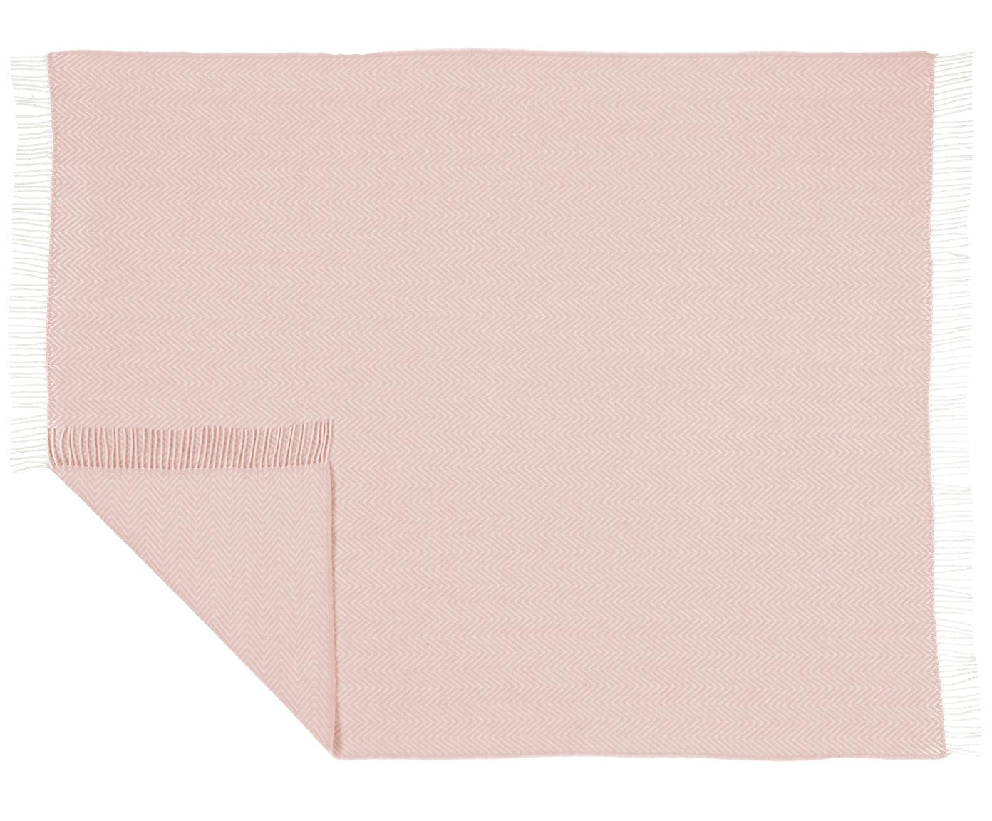 Pled z wełny Aubrey, Blady różowy, złamana biel, S 140 x D 186 cm