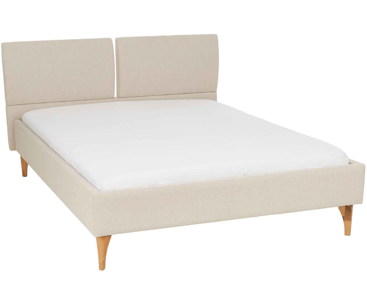 Łóżko tapicerowane  z zagłówkiem Tamara, Tapicerka: poliester, Nogi: drewno twardzielowe, olej, Beżowy, drewno twardzielowe, 160 x 200 cm