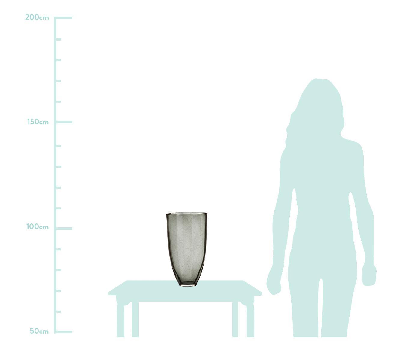 Große Glas-Vase Jinx, Glas, Schwarz, transparent, Ø 19 x H 35 cm