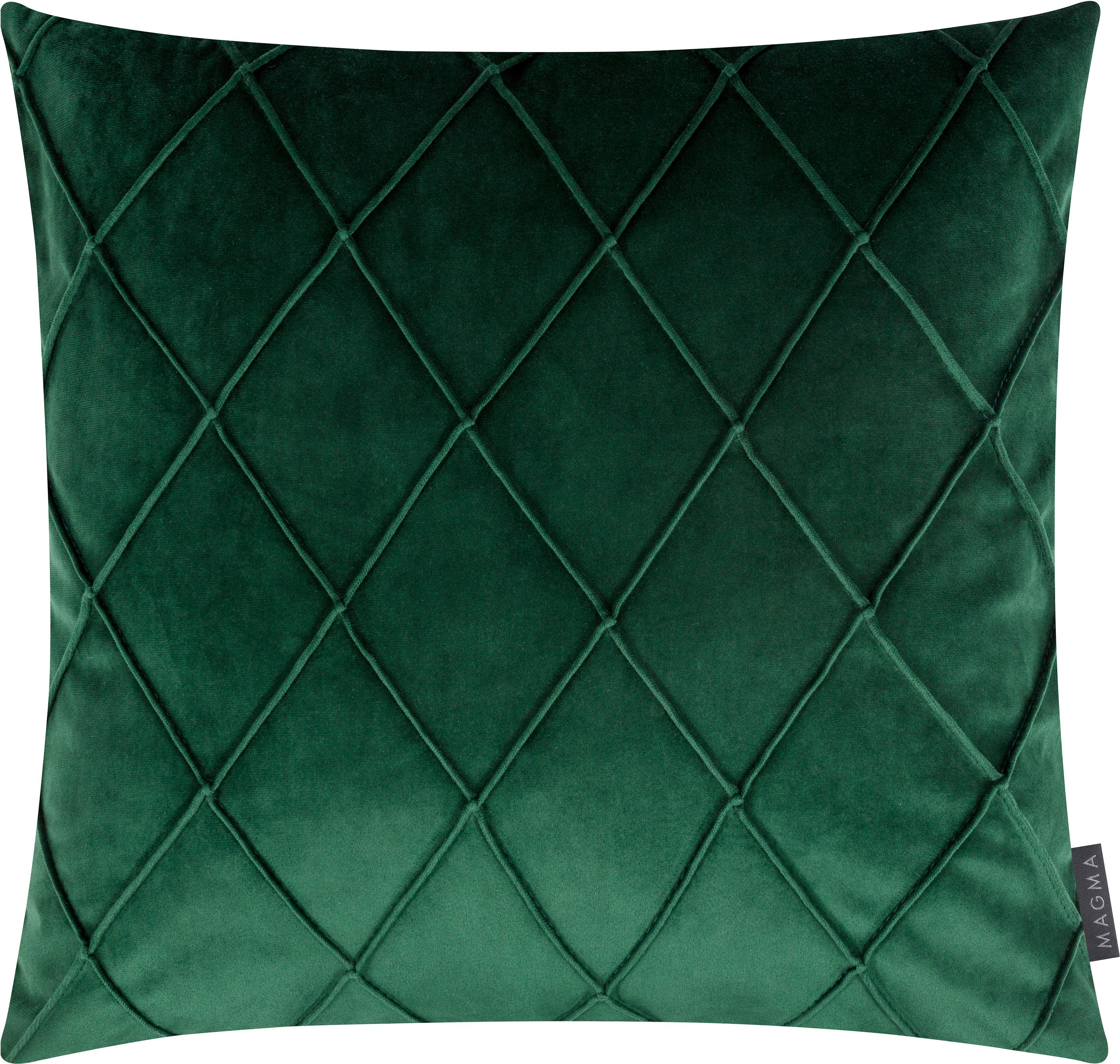 Fluwelen kussenhoes Nobless met verhoogd ruitjesmotief, Polyester fluweel, Groen, 50 x 50 cm