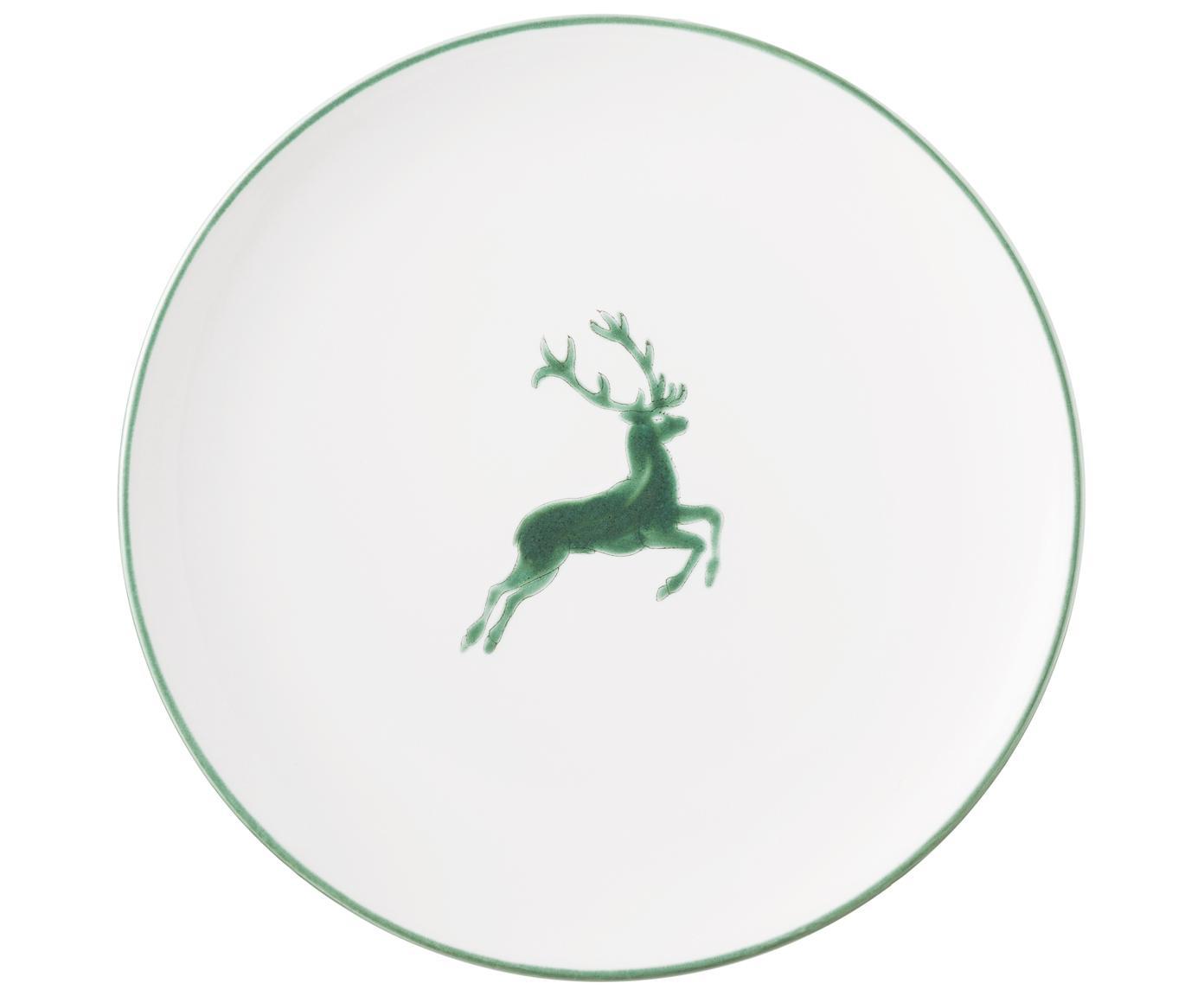Ręcznie malowany talerz duży Classic Grüner Hirsch, Ceramika, Biały, Ø 25 cm