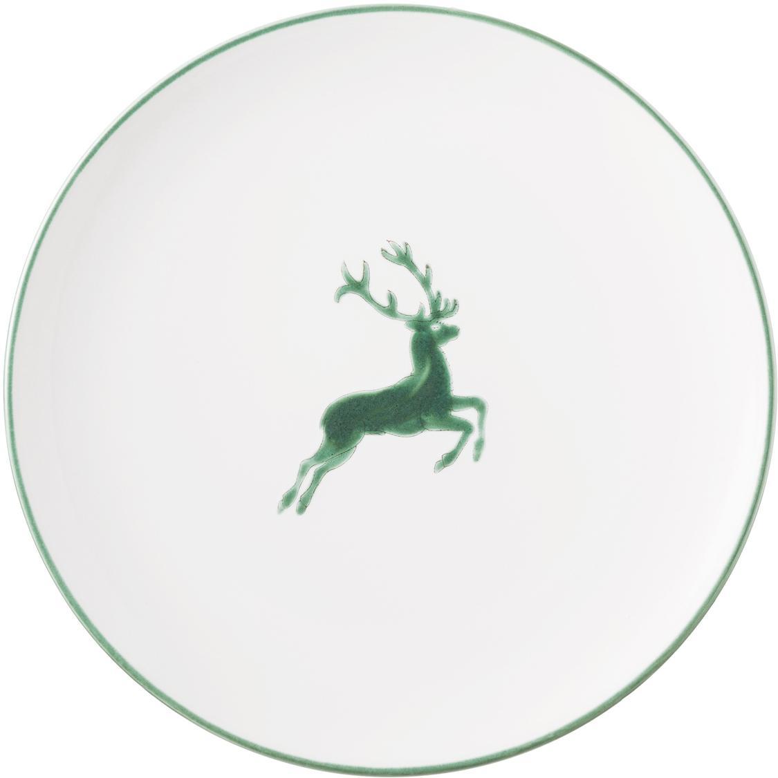 Piatto piano dipinto a mano Classic Grüner Hirsch, Ceramica, Bianco, Ø 25 cm