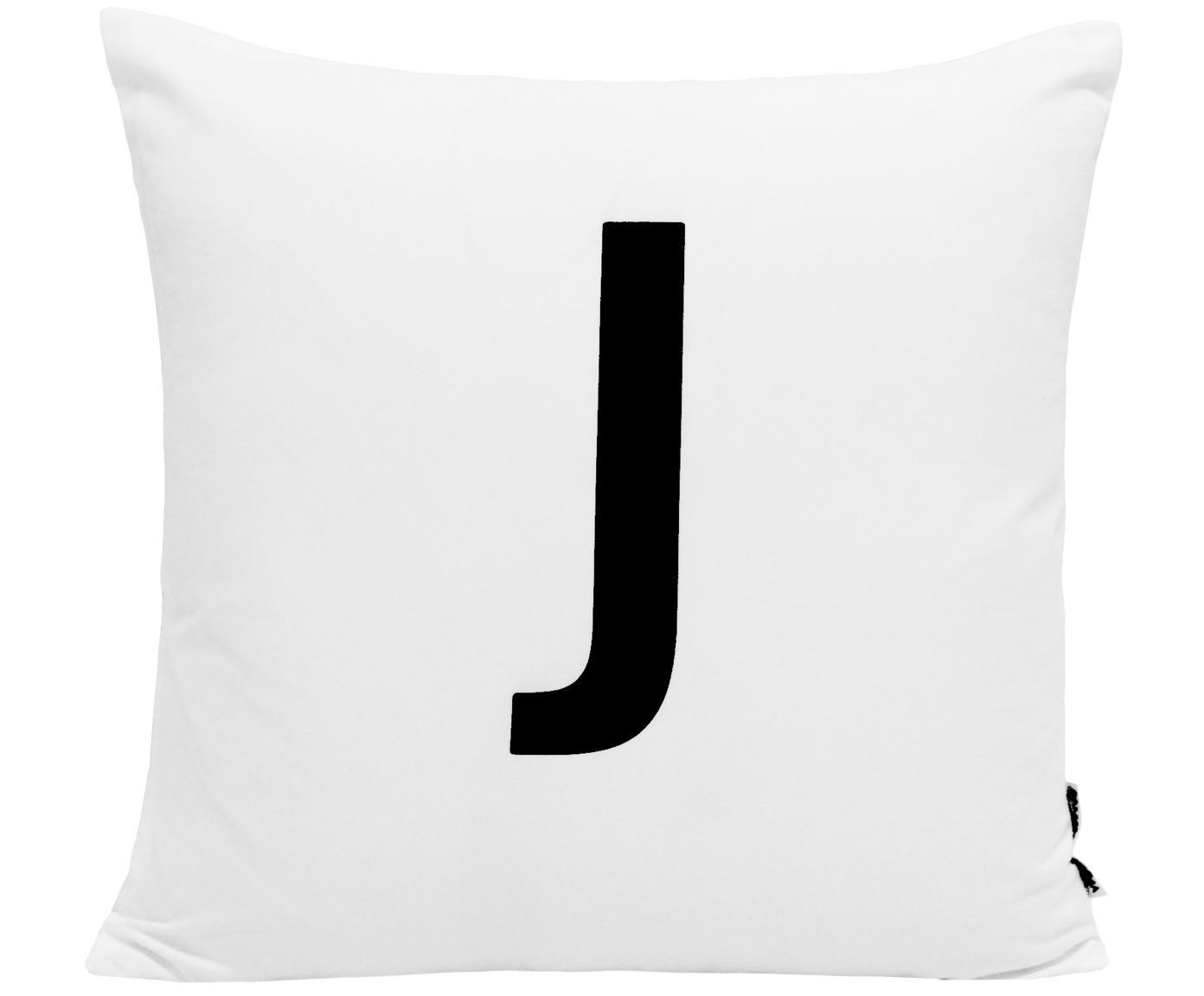 Federa arredo Alphabet (varianti dalla A alla Z), Poliestere, Nero, bianco, Federa arredo J