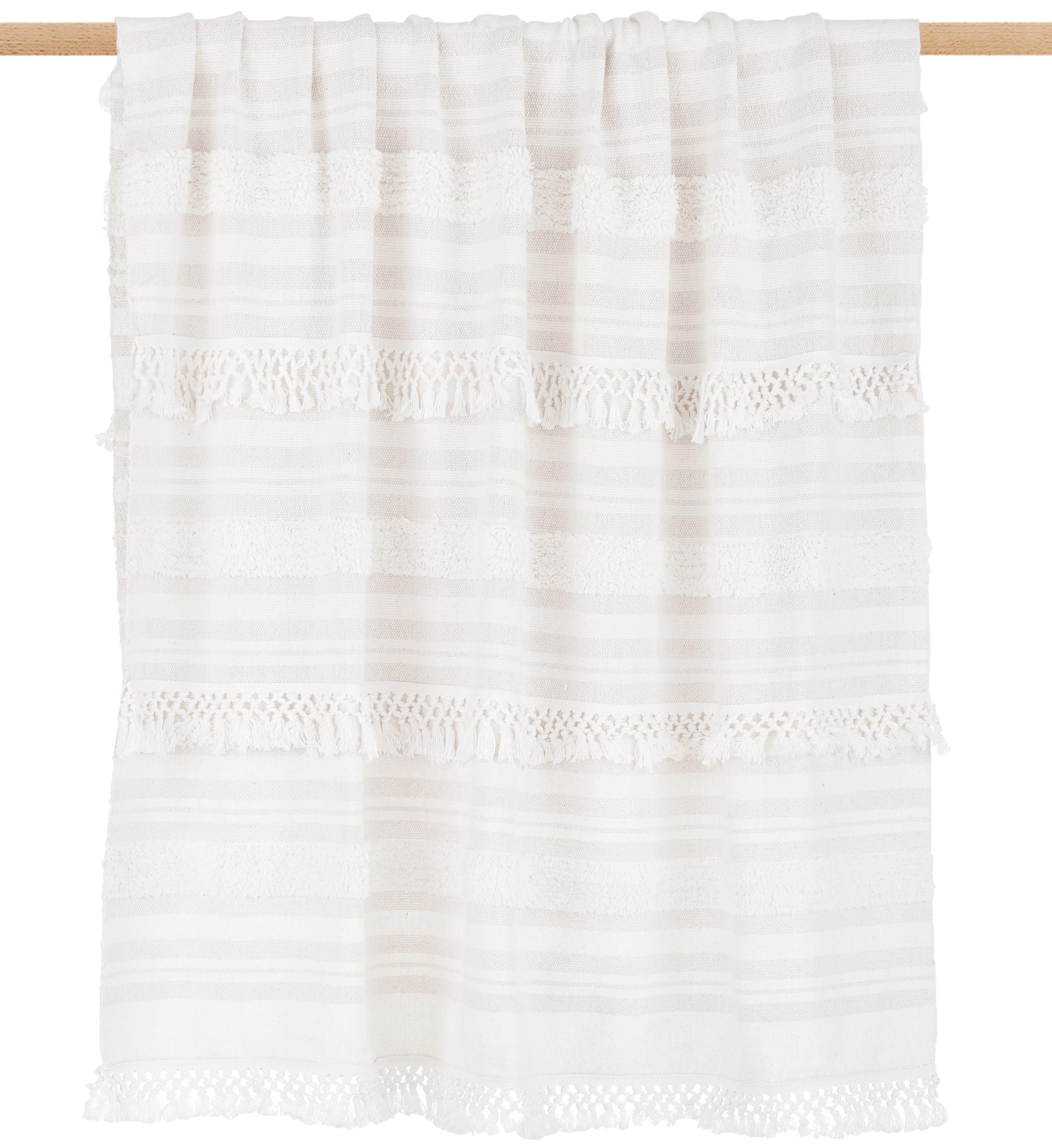Plaid in cotone Nara, 100% cotone, Bianco crema, beige, Larg. 130 x Lung. 170 cm