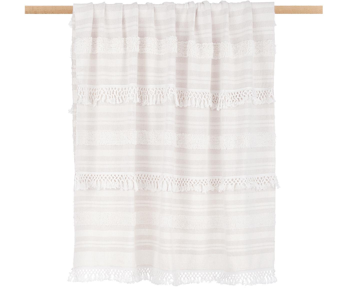 Baumwollplaid Nara mit Fransen in Creme/Beige, 100% Baumwolle, Cremeweiß, Beige, 130 x 170 cm