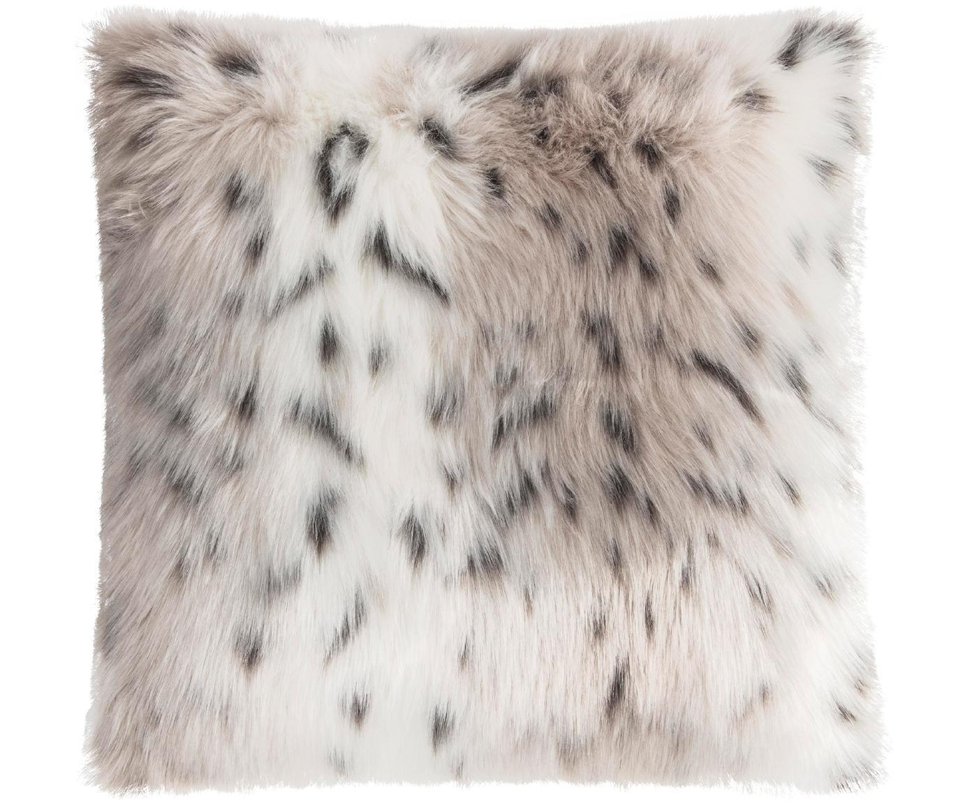 Federa in pelliccia sintetica Skins, Retro: poliestere, Fronte: beige, bianco, antracite Retro: avorio, P 40 x L 40 cm