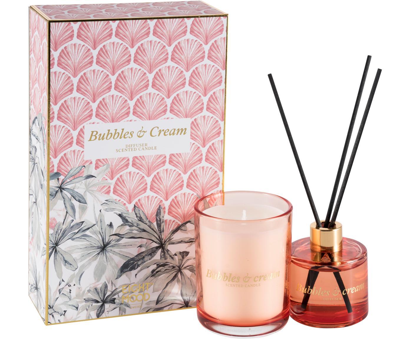 Diffusore & candela profumata Allure (crema dolce), set di 2, Scatola: carta, Contenitore: vetro, Multicolore, Larg. 10 x Alt. 22 cm