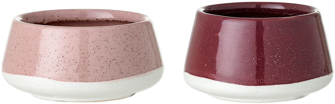 Waxinelichthoudersset Punti, 2-delig, Keramiek, Roze, rood, wit, Set met verschillende formaten