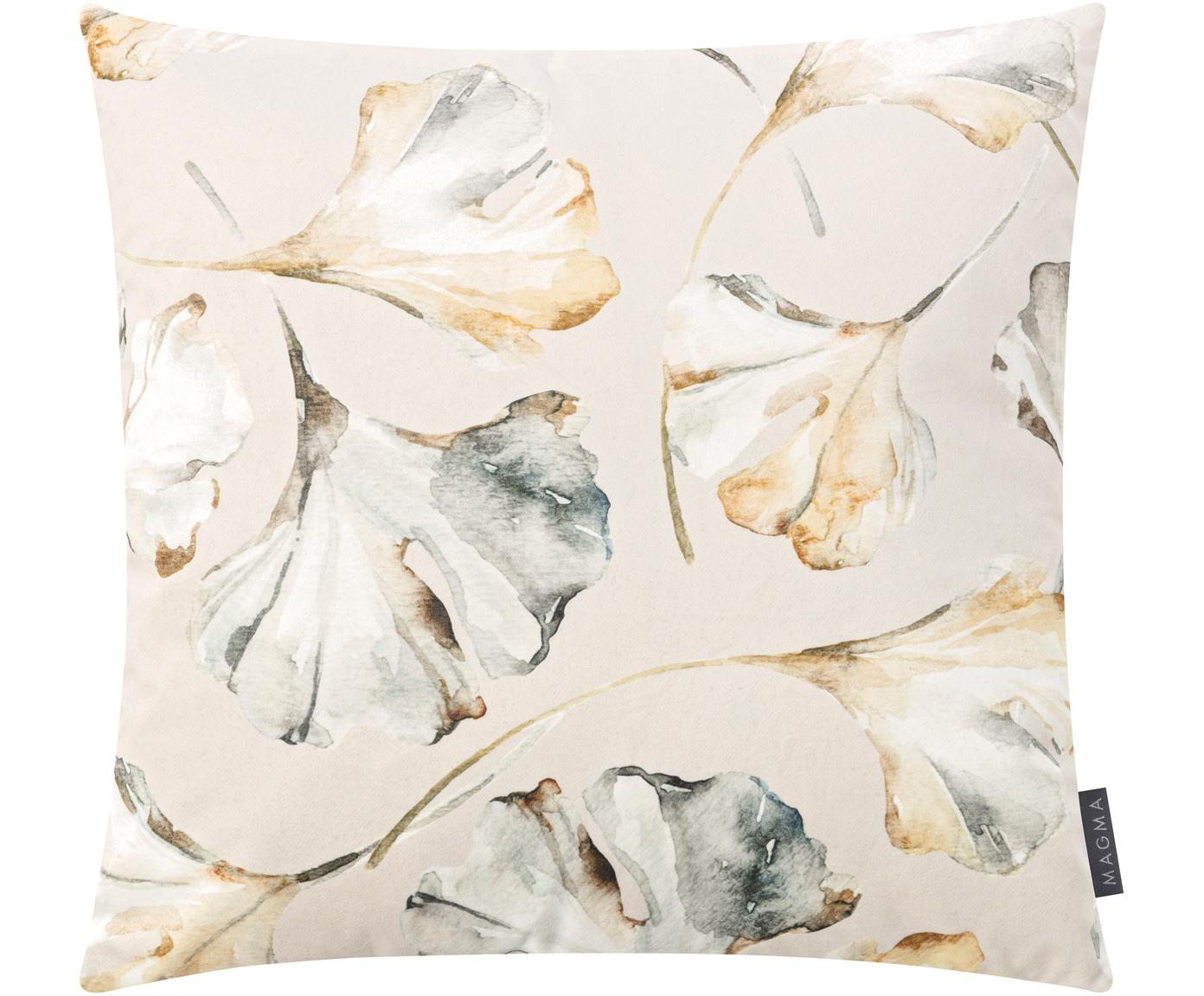 Funda de cojín de terciopleo Flores, caras distintas, 100%terciopelo de poliéster, Beige, multicolor, An 50 x L 50 cm