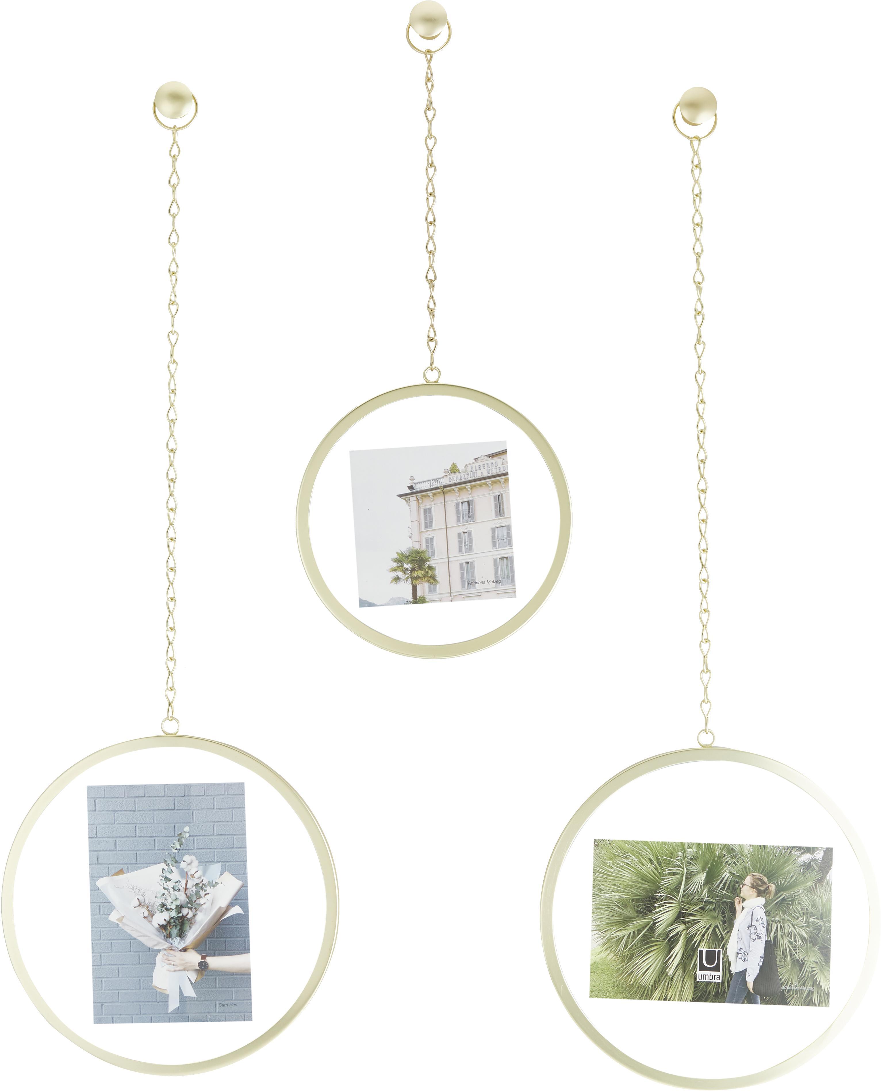 Set 3 cornici foto Dima, Metallo rivestito, Dorato, Diverse dimensioni