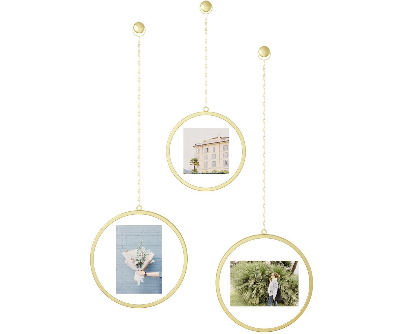 Set de marcos Dima, 3pzas., Metal recubierto, Dorado, Tamaños diferentes