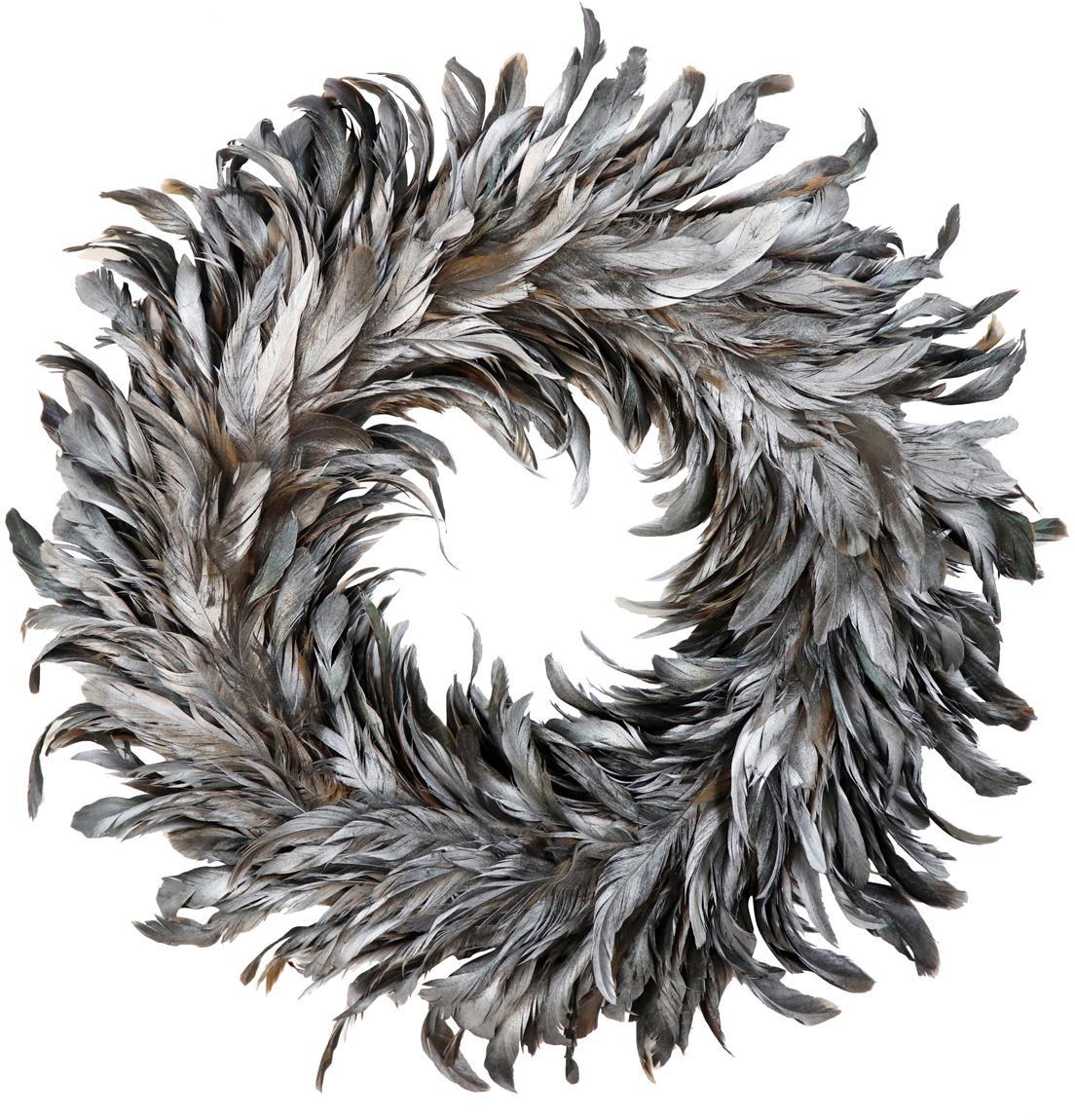Corona de plumas Argento, Plumas, espuma de poliestireno, Gris, Ø 37 cm