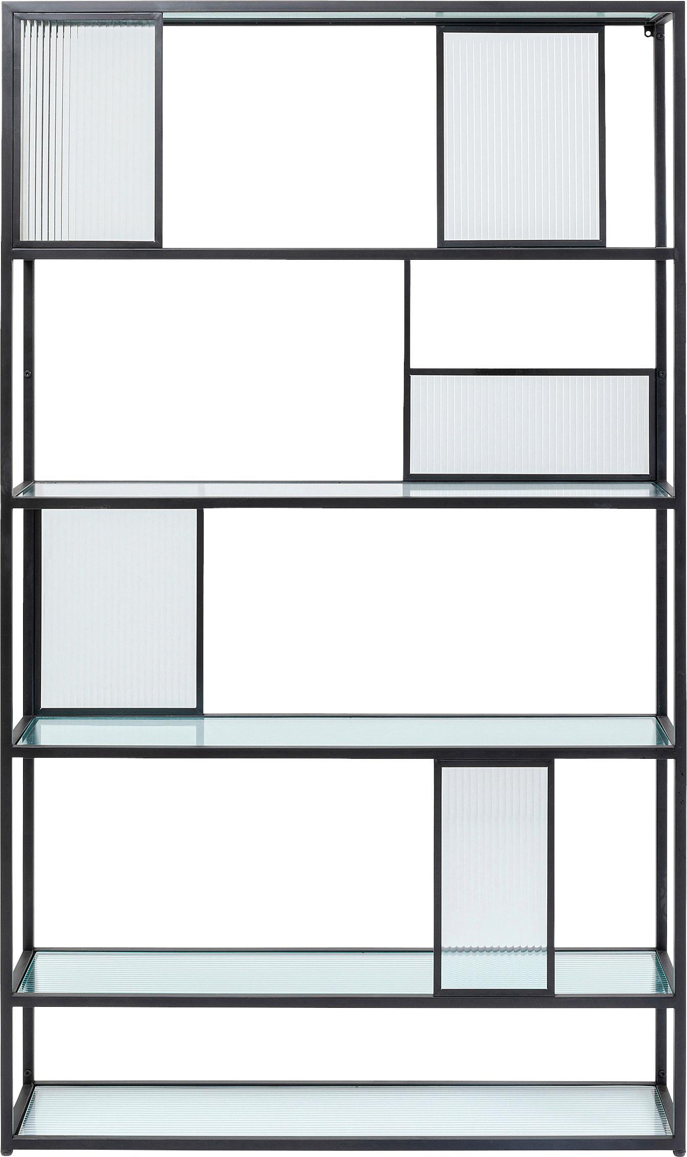 Metall-Standregal Skyler mit Glasplatten, Gestell: Metall, pulverbeschichtet, Schwarz, 115 x 185 cm