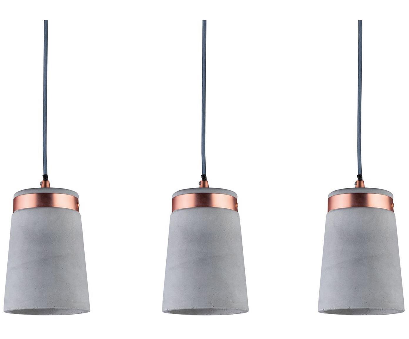 Lampada a sospensione in cemento Stig, Paralume: cemento, Grigio cemento, rame, Larg. 60 x Alt. 17 cm