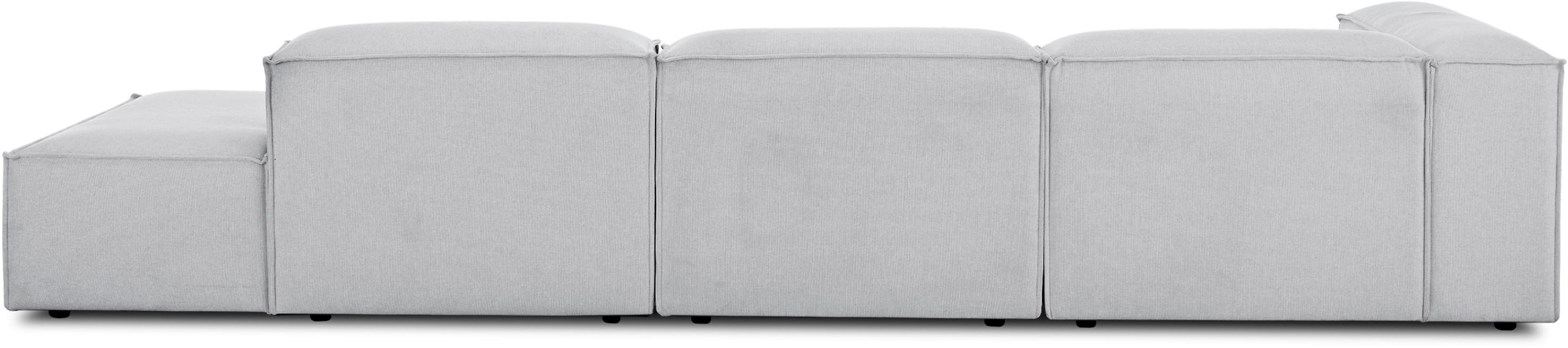 Modulare XL-Ottomane Lennon, Bezug: Polyester 35.000 Scheuert, Gestell: Massives Kiefernholz, Spe, Füße: Kunststoff, Webstoff Hellgrau, B 357 x T 119 cm