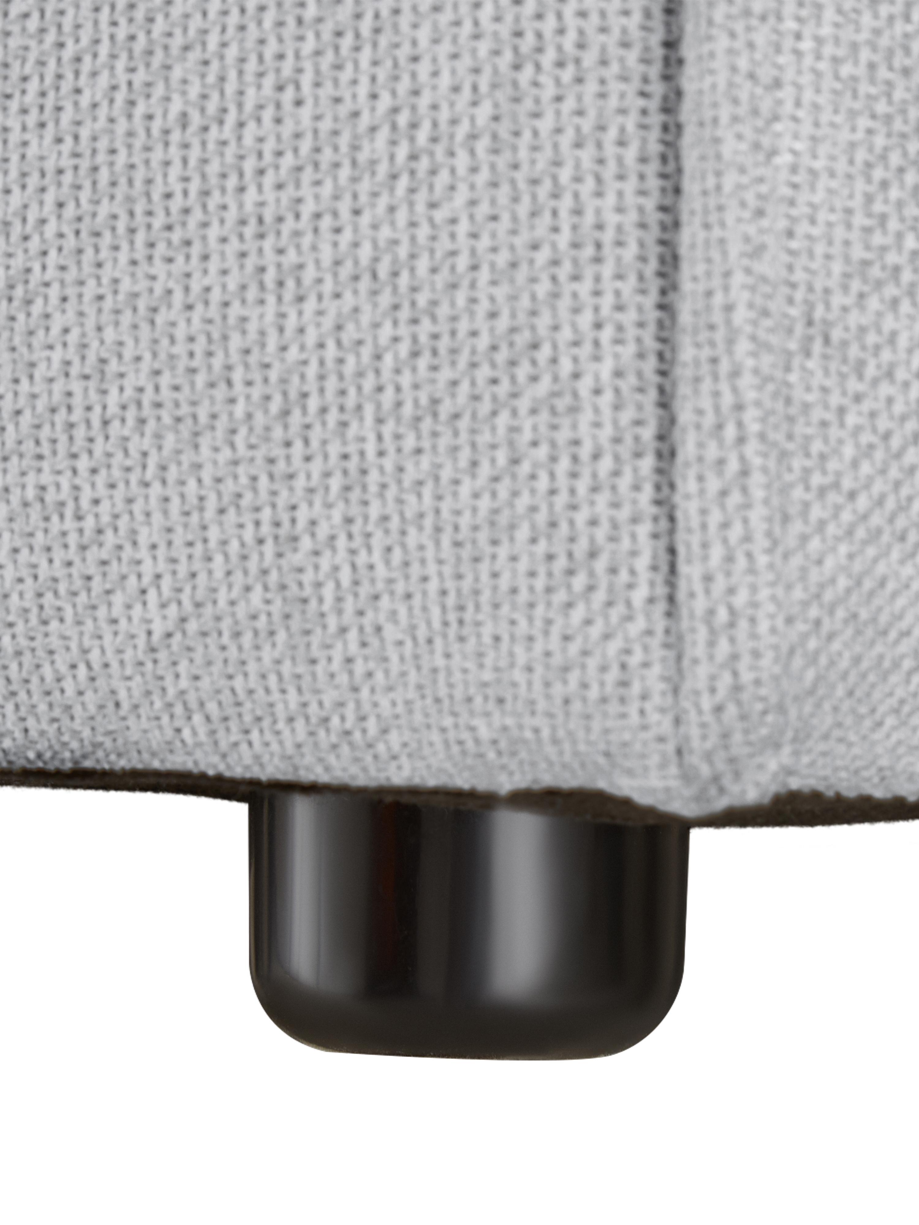 Modulare XL-Ottomane Lennon, Bezug: Polyester Der hochwertige, Gestell: Massives Kiefernholz, Spe, Füße: Kunststoff, Webstoff Hellgrau, B 357 x T 119 cm