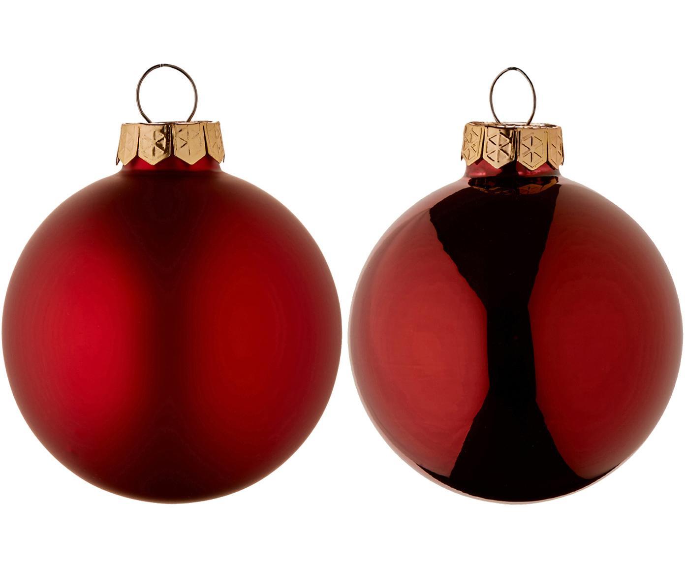 Kerstballenset Evergreen, 10-delig, Rood, Ø 6 cm