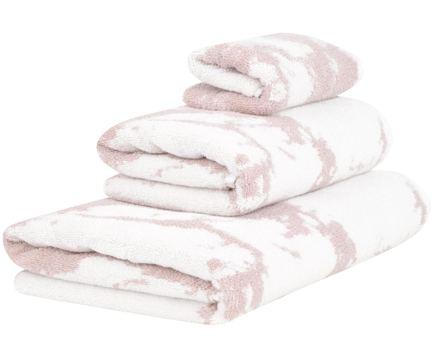 Handdoekenset Marmo, 3-delig, 100% katoen, middelzware kwaliteit, 550 g/m², Roze, crèmewit, Verschillende formaten