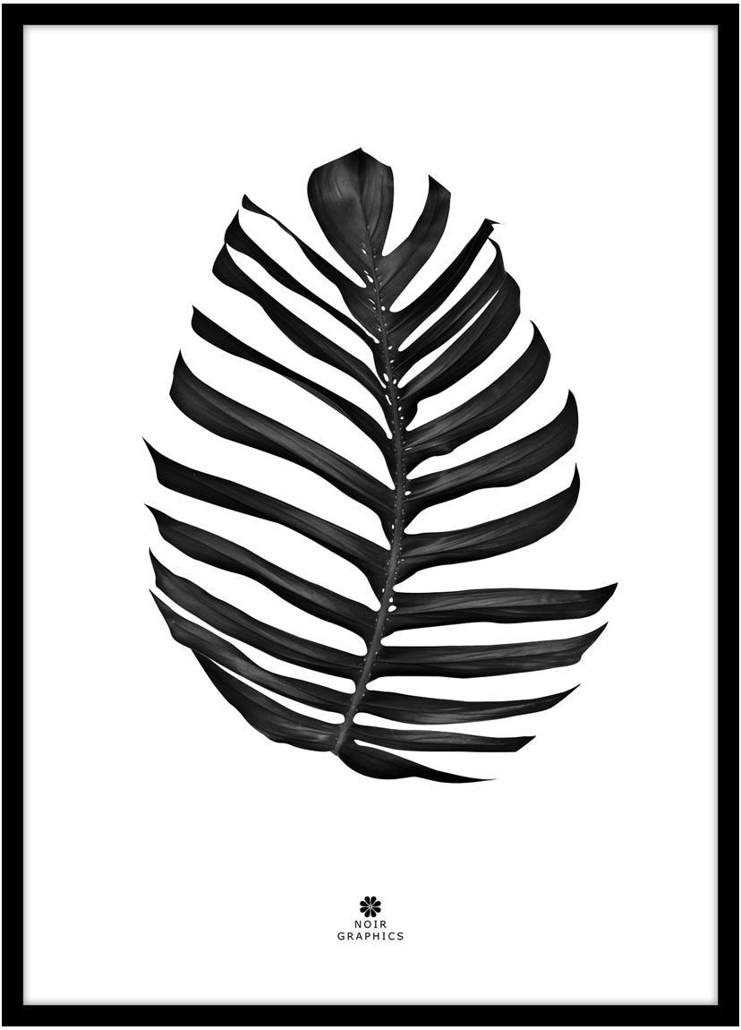 Ingelijste digitale print Jungle Leaf Black, Afbeelding: digitale druk op papier (, Lijst: gelakt HDF, Zwart, wit, 30 x 40 cm