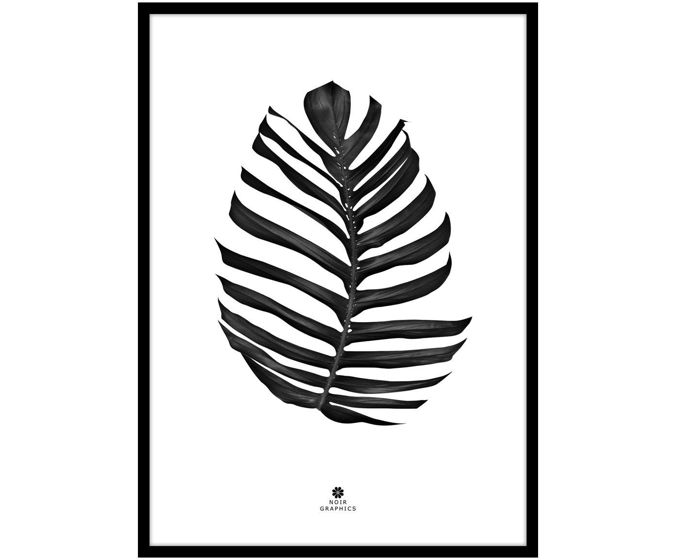 Oprawiony druk cyfrowy Jungle Leaf Black, Czarny, biały, S 30 x W 40 cm