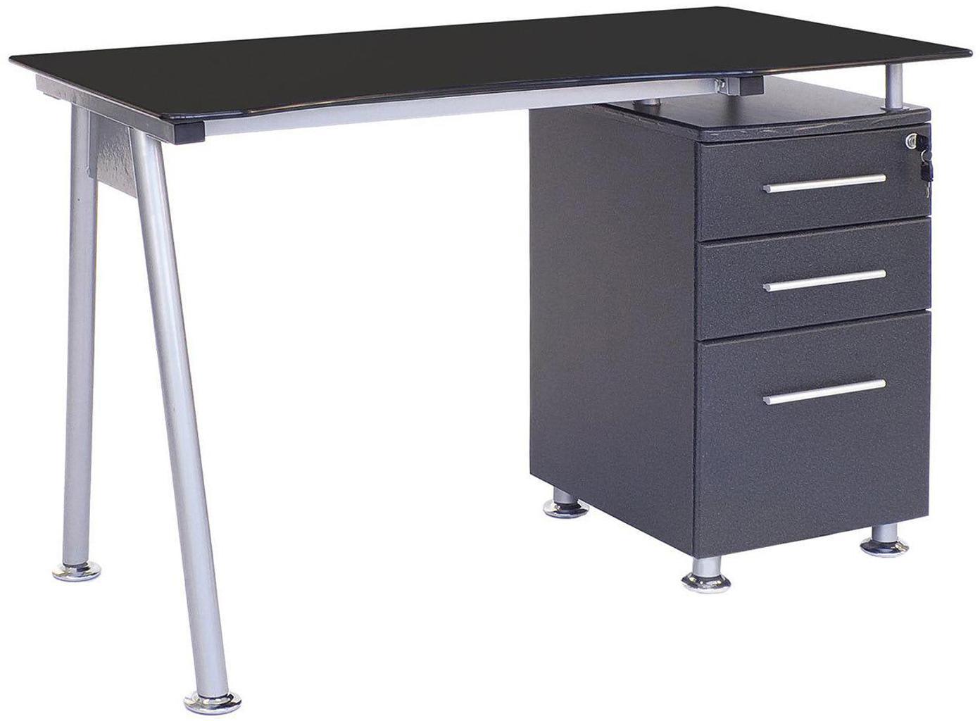 Escritorio Mizar, Estructura: acero barnizado, Tablero: cristal templado de 10 mm, Negro, plateado, An 120 x F 60 cm